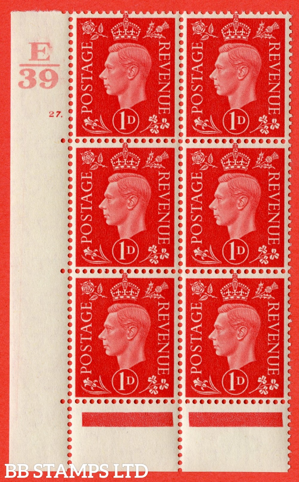 "SG. 463. Q4. 1d Scarlet. A superb UNMOUNTED MINT"" Control E39 cylinder 27 dot "" block of 6 with perf type 6B E/P."