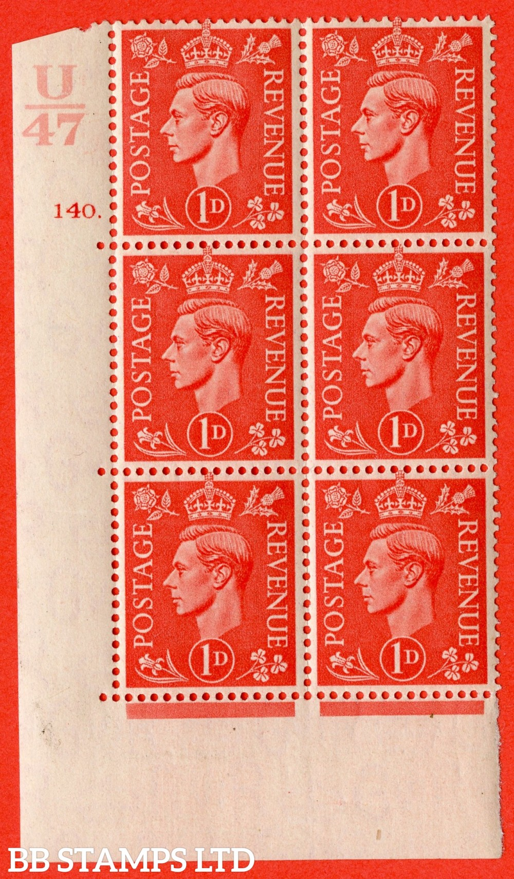 """SG. 486. Q5. 1d Pale scarlet. A fine lightly mounted mint """" Control U47  cylinder 140 dot """" control block of 6 with perf type 5 E/I."""