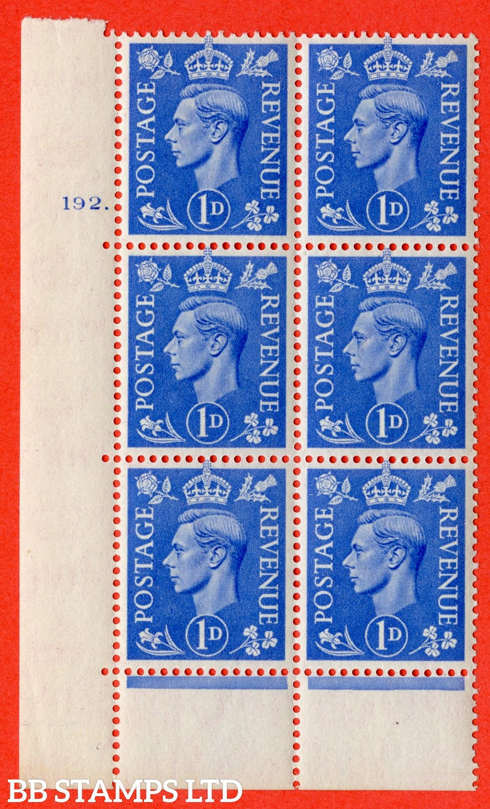 """SG. 504. Q6. 1d Light ultramarine. A superb UNMOUNTED MINT """" No Control cylinder 192 no dot """" control block of 6 with perf type 6B E/P"""