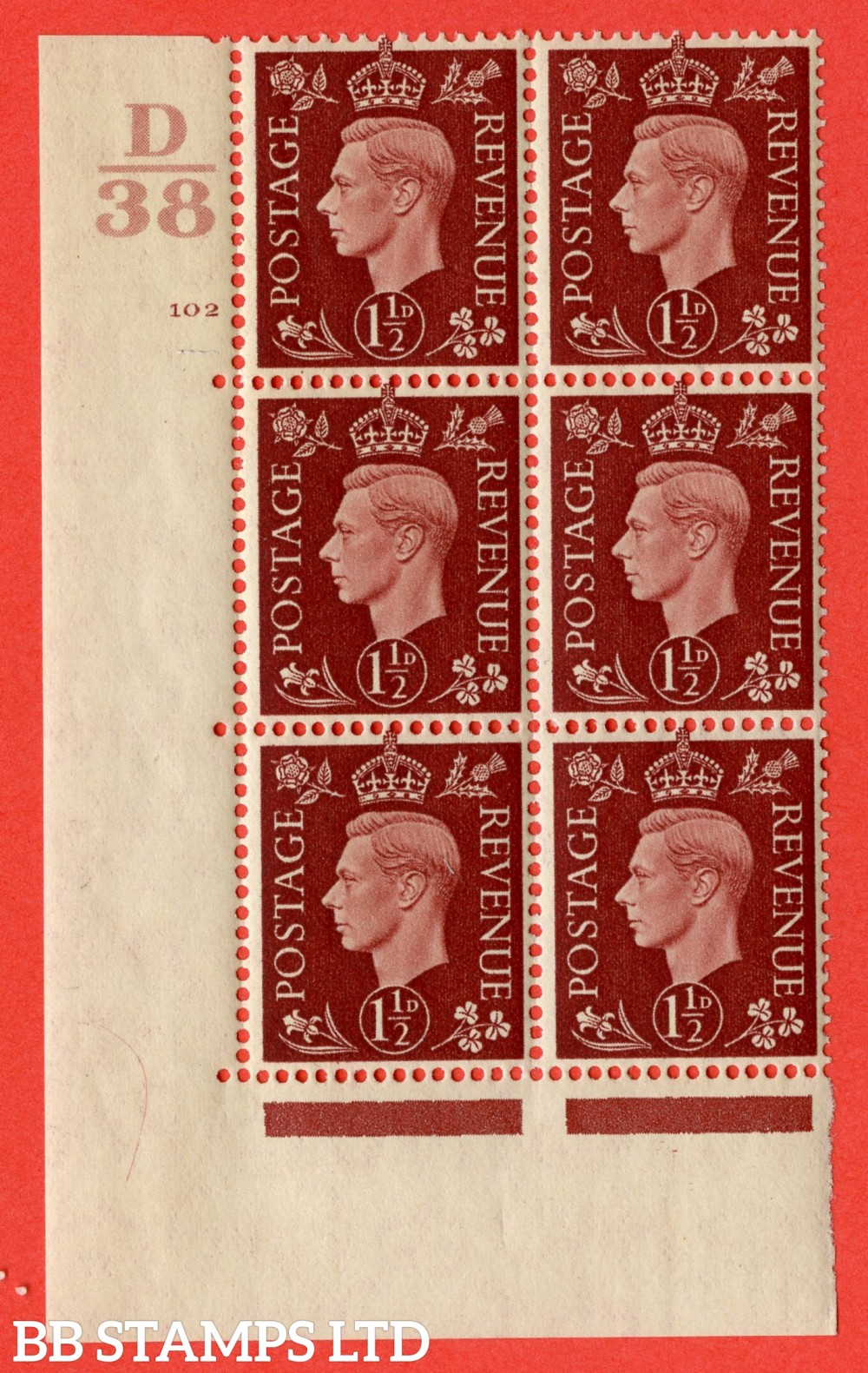 """SG. 464. Q7. 1½d Red-Brown. A superb UNMOUNTED MINT """" Control C38 cylinder 102 no dot """" block of 6 with perf type 5 E/I."""