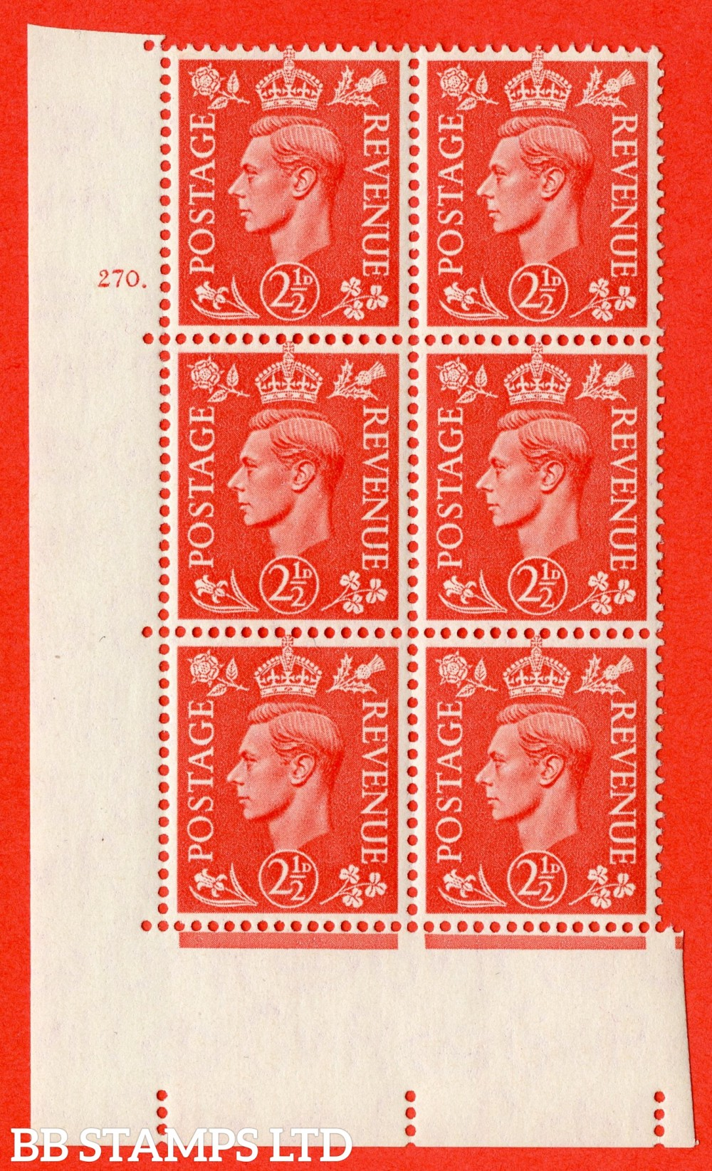 "SG. 507. Q15. 2½d Pale Scarlet. A fine lightly mounted mint "" No Control cylinder 270 dot "" control block of 6 with perf type 5 E/I."