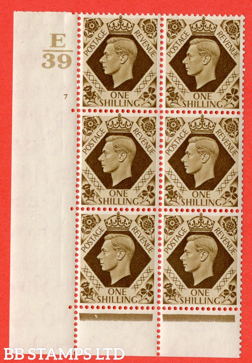 "SG. 475. Q28. 1/- Bistre-Brown. A fine lightly mounted mint "" Control  E39 cylinder 7 no dot "" control block of 6 with perf type 6B E/P."