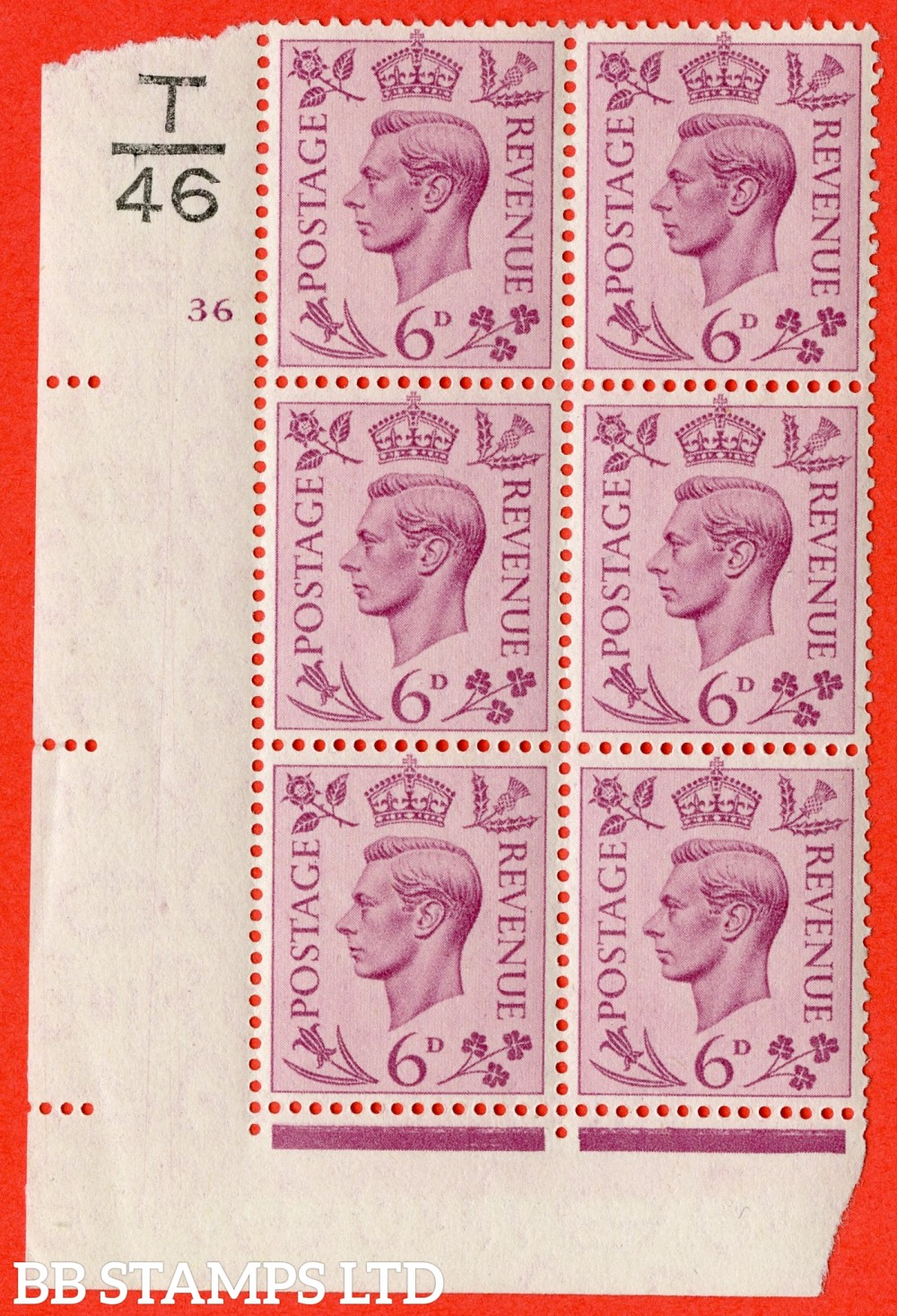 """SG. 470. Q22. 6d Purple. A superb UNMOUNTED MINT """" Control T46 cylinder 36 no dot """" control block of 6 with perf type 2 E/I"""