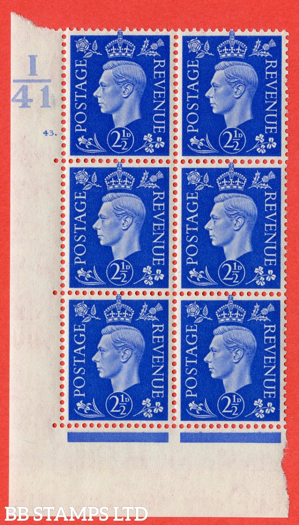 "SG. 466. Q13. 2½d Ultramarine. A superb UNMOUNTED MINT "" Control I41 cylinder 43 dot "" control block of 6 with perf type 5 E/I."