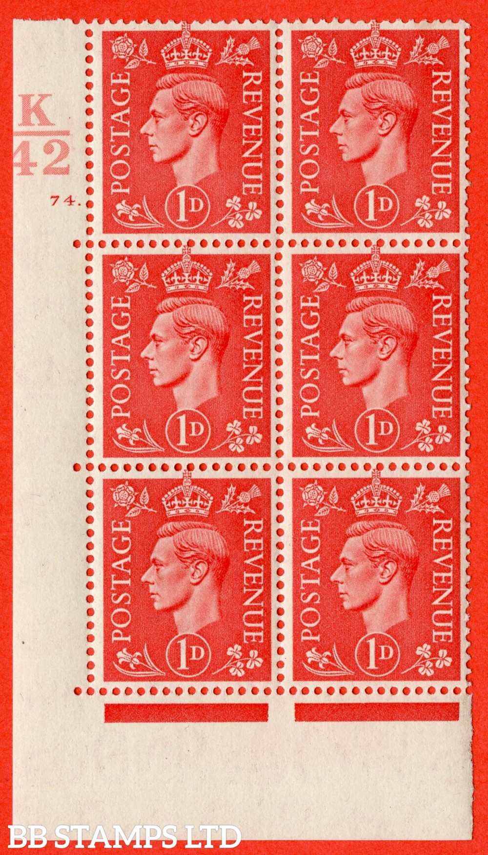"SG. 486. Q5. 1d Pale scarlet. A fine lightly mounted mint "" Control K42  cylinder 74 dot "" control block of 6 with perf type 5 E/I."