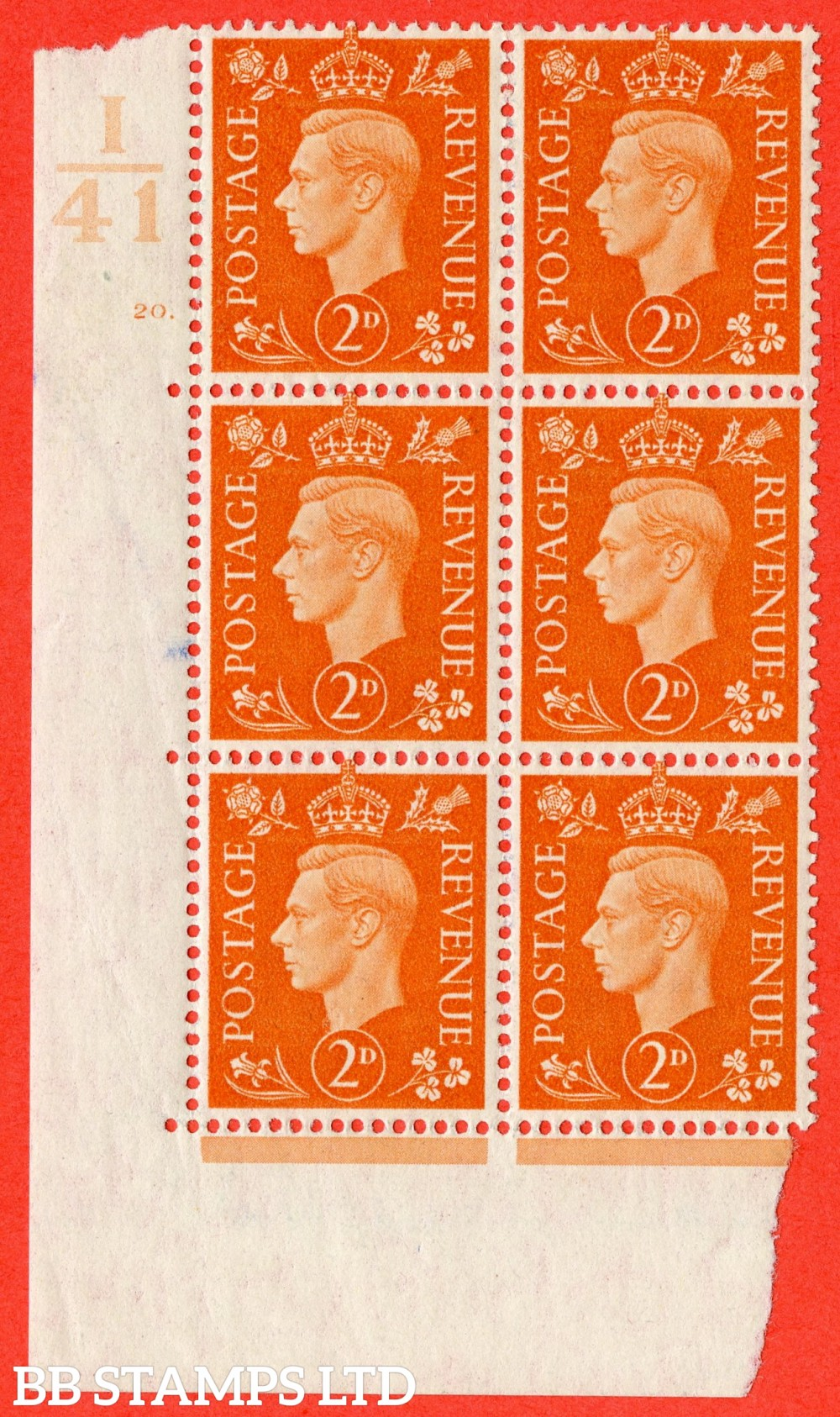 "SG. 465. Q10. 2d Orange. A fine lightly mounted mint "" Control I41 cylinder 20 dot "" control block of 6 with perf type 5 E/I."