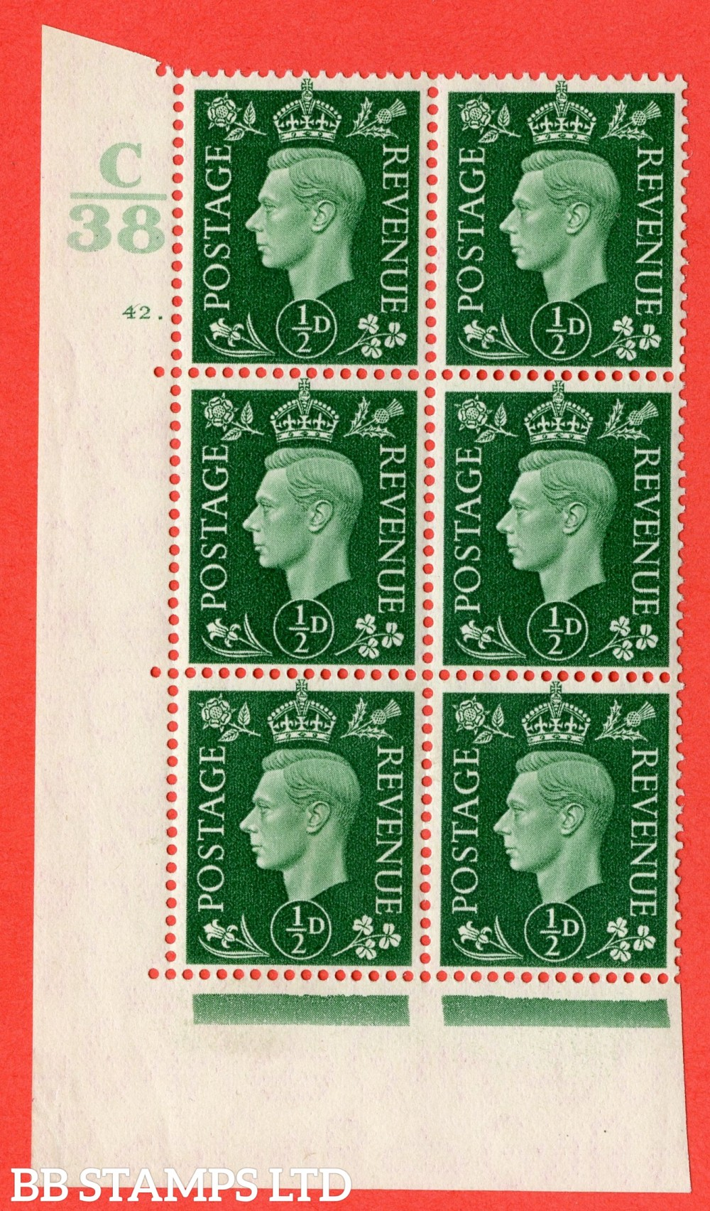 "SG. 462. Q1. ½d Green. A superb UNMOUNTED MINT "" Control C38 cylinder 42 dot "" block of 6 with perf type 5 E/I."