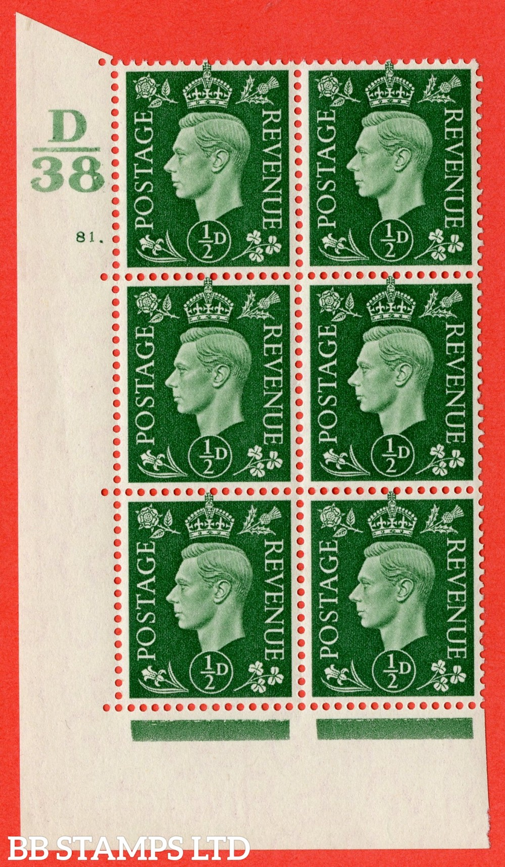 "SG. 462. Q1. ½d Green. A superb UNMOUNTED MINT "" Control D38 cylinder 81 dot "" block of 6 with perf type 5 E/I."