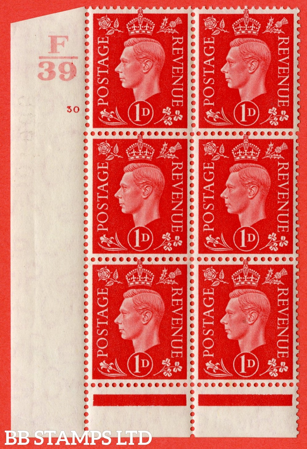 "SG. 463. Q4. 1d Scarlet. A superb UNMOUNTED MINT "" Control F39 cylinder 30 no dot "" block of 6 with perf type 6 I/P."