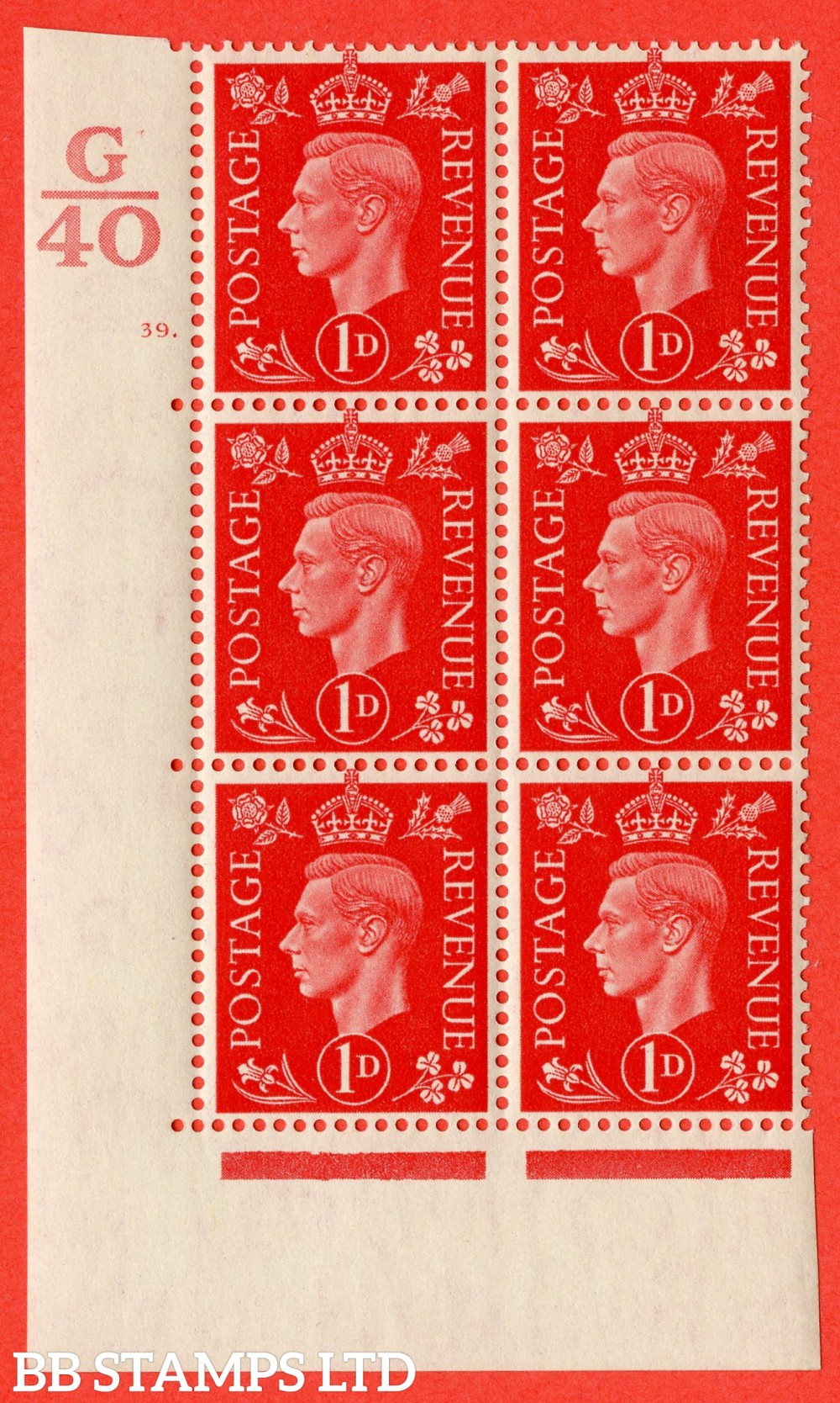 "SG. 463. Q4. 1d Scarlet. A superb UNMOUNTED MINT"" Control G40 cylinder 39 dot "" block of 6 with perf type 5 E/I."