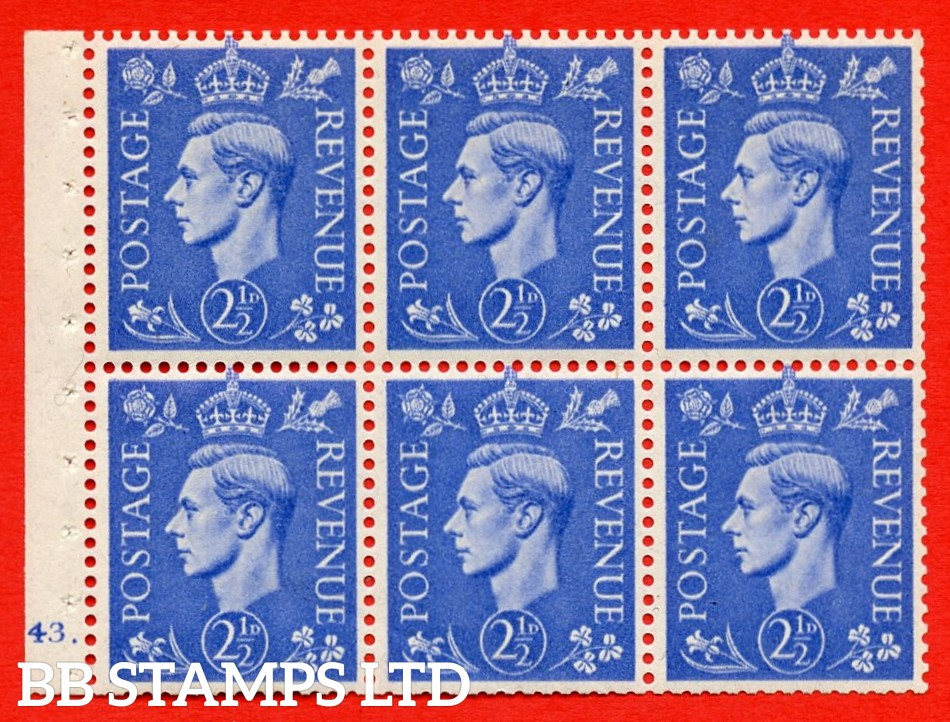 """SG. 489f. QB33. 2½d blue. A fine MOUNTED MINT complete Cylinder pane of 6 J43 dot. Perf type """"B6(IE)"""". Good Perfs."""