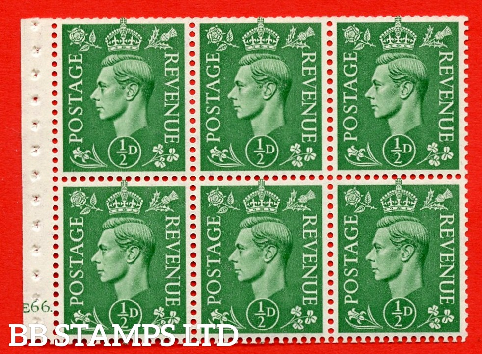 """SG. 485 c. QB4. ½ pale green. A fine UNMOUNTED MINT. Cylinder Pane of 6 E66 dot Perf Type """" B5(BP) """" Good Perfs. Unpriced in Stanley Gibbons Catalogue."""