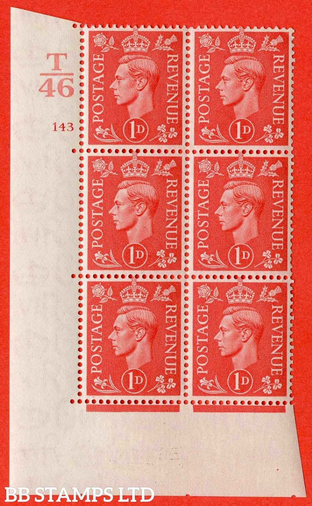 "SG. 486. Q5. 1d Pale scarlet. A superb UNMOUNTED MINT "" Control T46  cylinder 143 no dot "" control block of 6 with perf type 5 E/I."