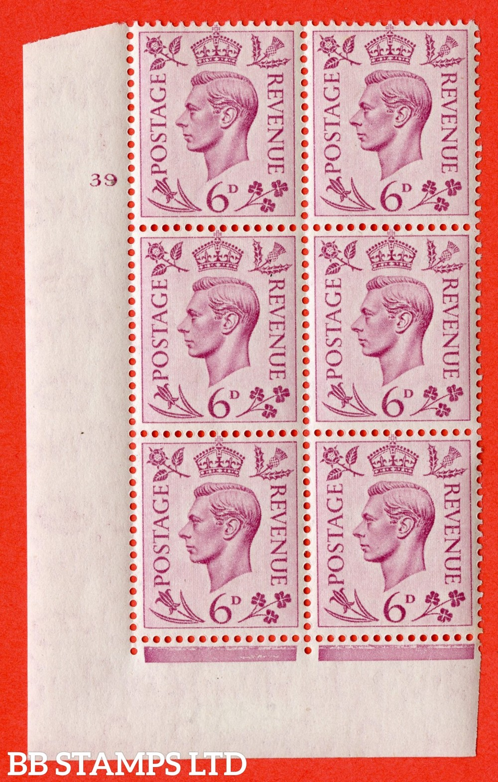 """SG. 470. Q22. 6d Purple. A fine lightly mounted mint """" No Control cylinder 39 no dot """" control block of 6 with perf type 2 E/I."""
