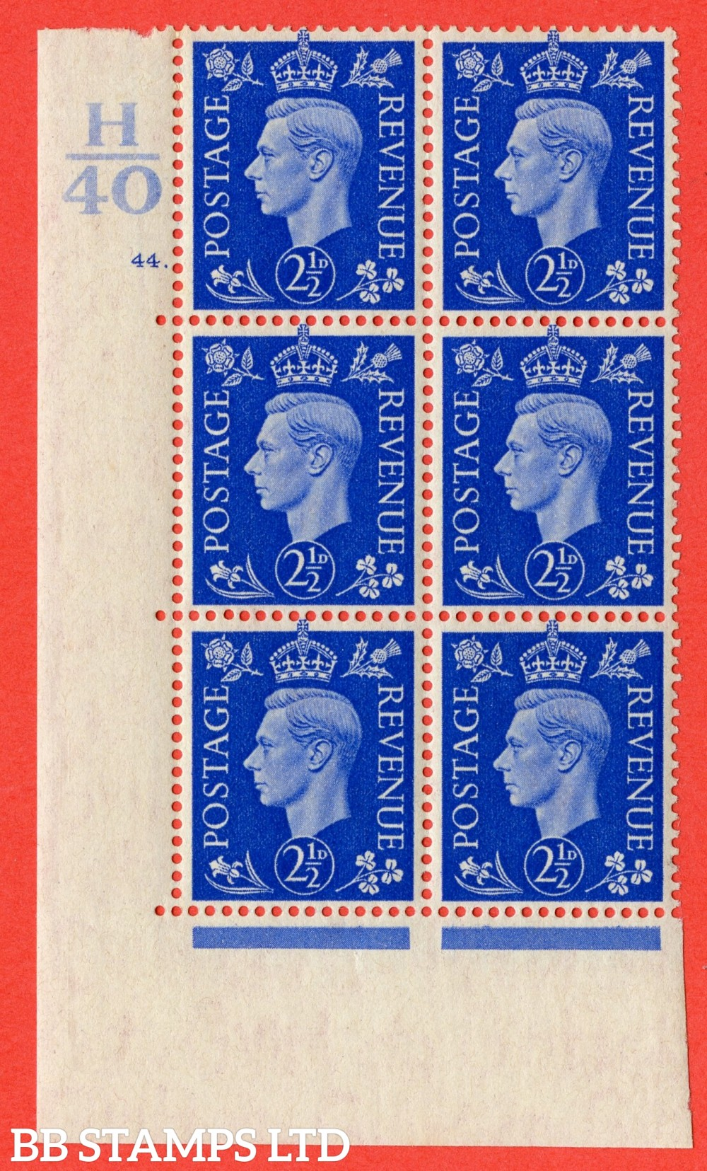 "SG. 466. Q13. 2½d Ultramarine. A fine lightly mounted mint "" Control H40 cylinder 44 dot "" control block of 6 with perf type 5 E/I."