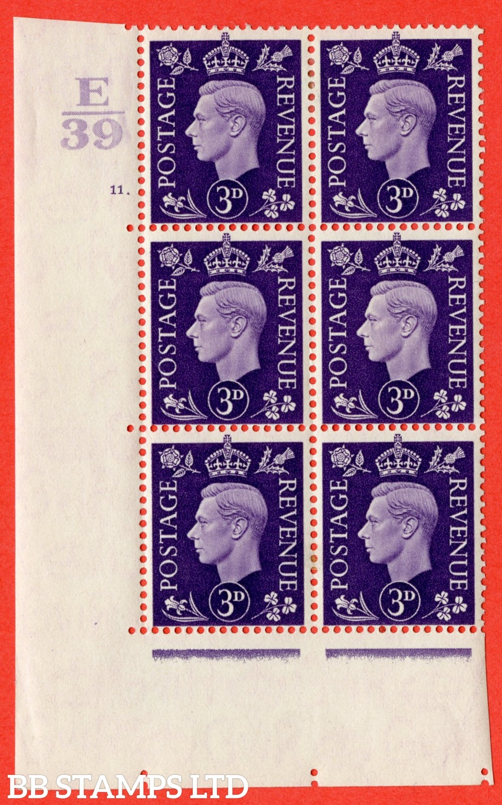 """SG. 467. Q16. 3d Violet. A fine lightly mounted mint. """" Control E39 cylinder 11 dot """" control block of 6 with perf type 5 E/I."""