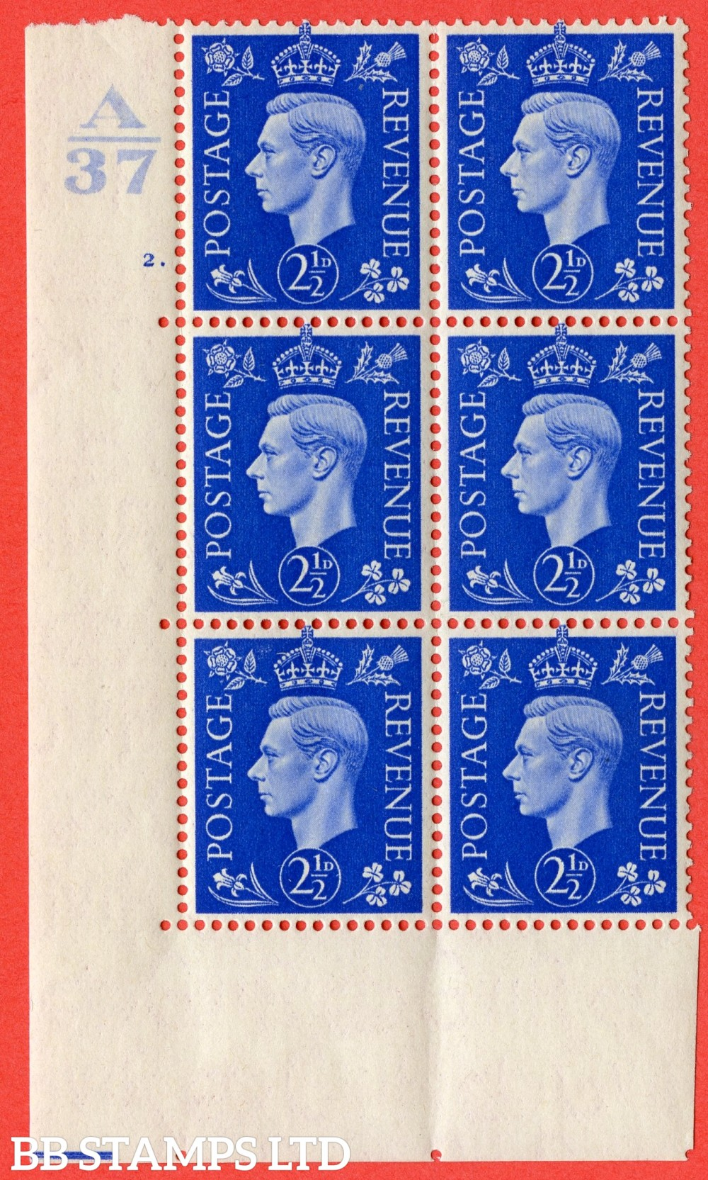 "SG. 466. Q13. 2½d Ultramarine. A superb UNMOUNTED MINT "" Control A37 cylinder 2 dot "" control block of 6 with perf type 5 E/I"