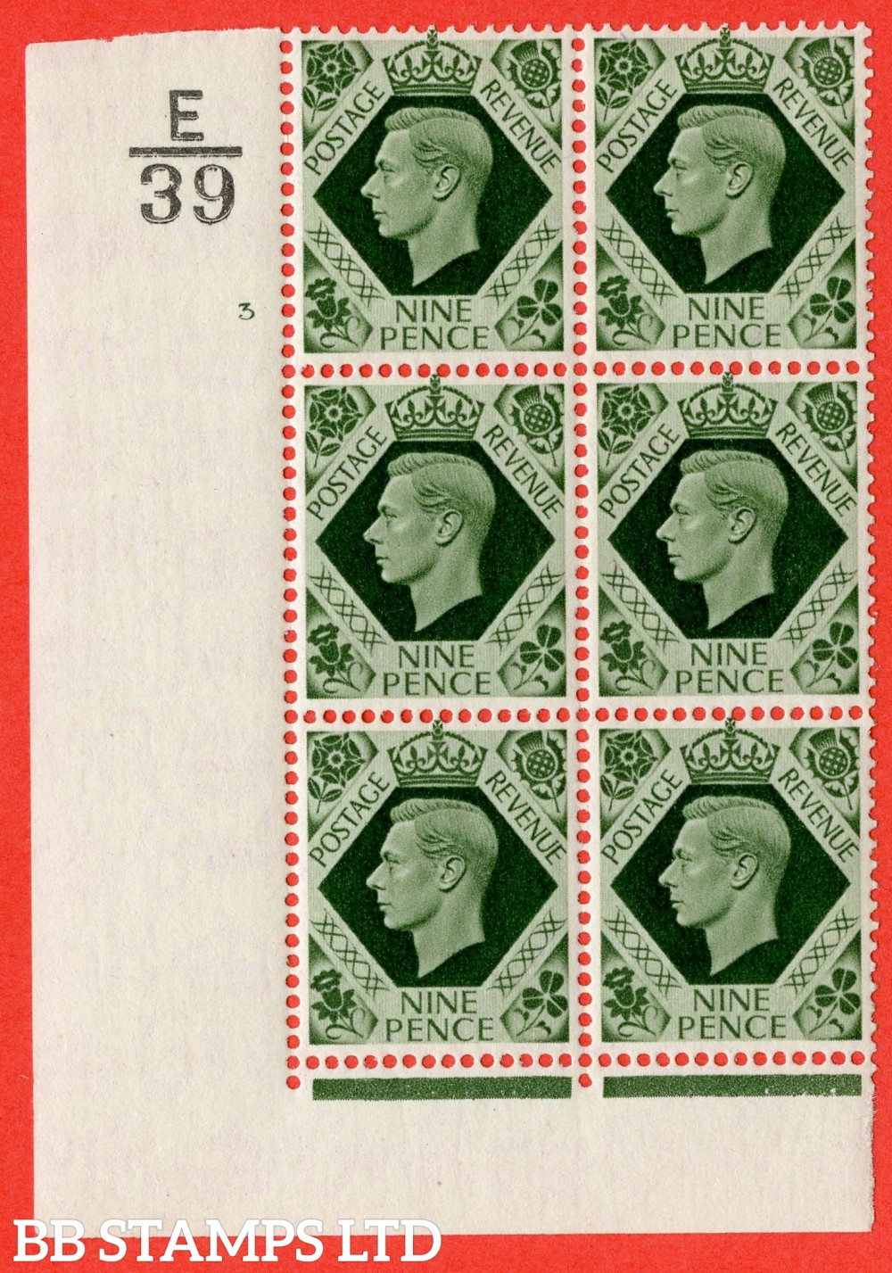 "SG. 473. Q25. b. 9d Olive-Green. A superb UNMOUNTED MINT "" Control E39 cylinder 3 no dot "" control block of 6 with perf type 2 I/E with listed variety "" Sloping serif to to stroke of last E  "" Row 18/1"