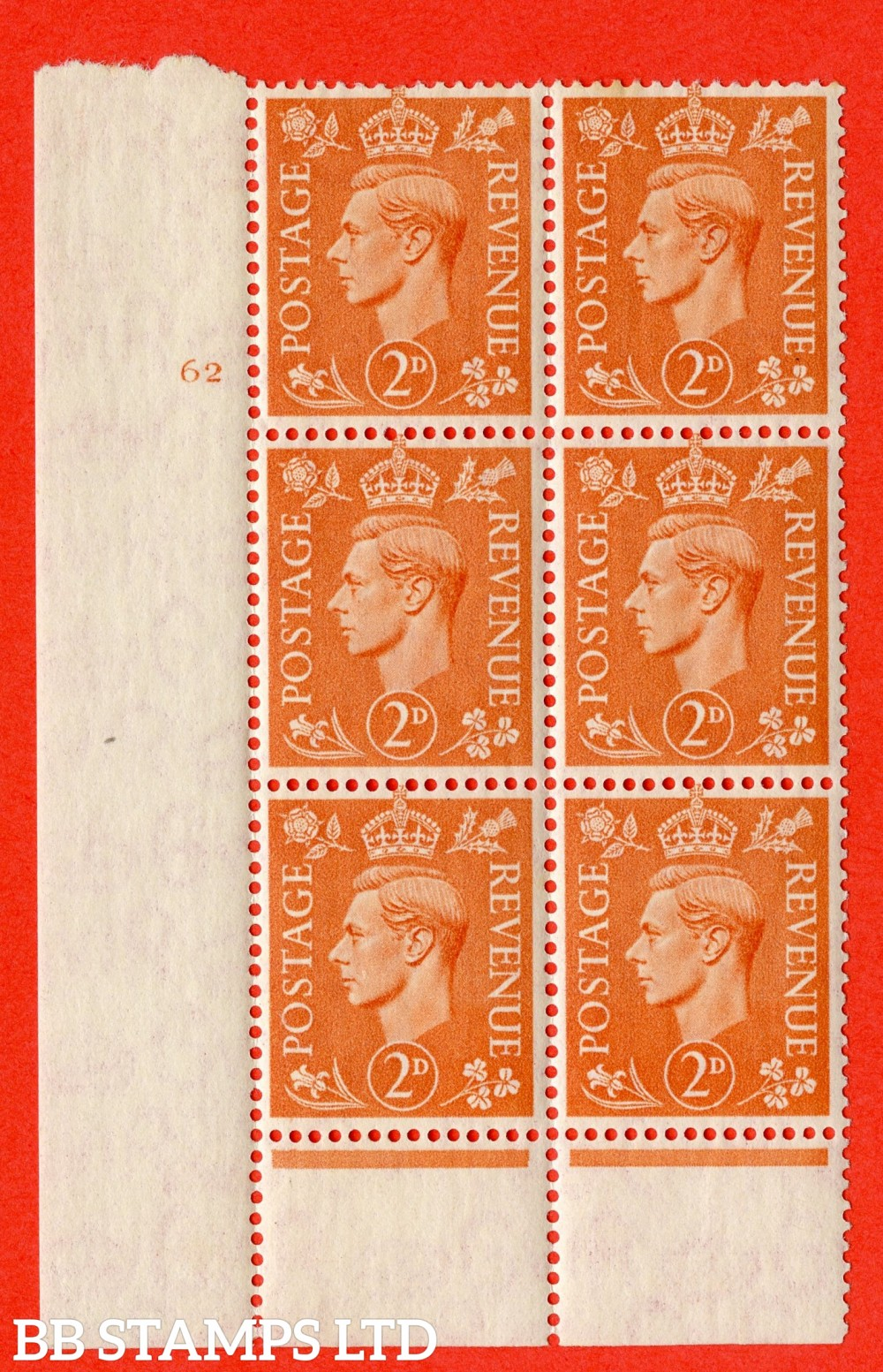"SG. 488. Q11. 2d Pale Orange. A superb UNMOUNTED MINT "" No Control cylinder 62 no dot "" control block of 6 with perf type 6 I/P"