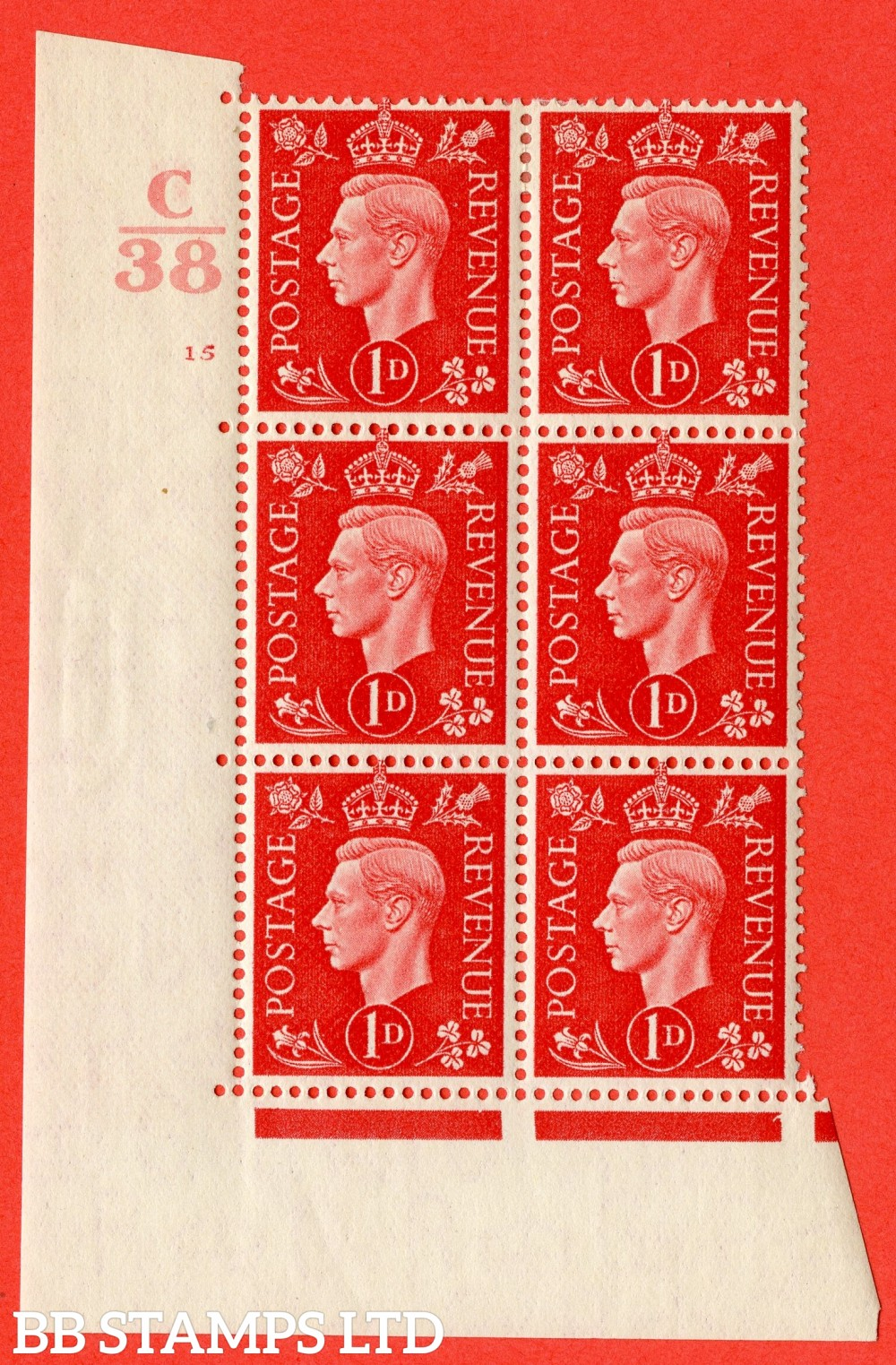 "SG. 463. Q4. 1d Scarlet. A superb UNMOUNTED MINT "" Control C38 cylinder 15 no dot "" block of 6 with perf type 5 E/I with marginal rule."