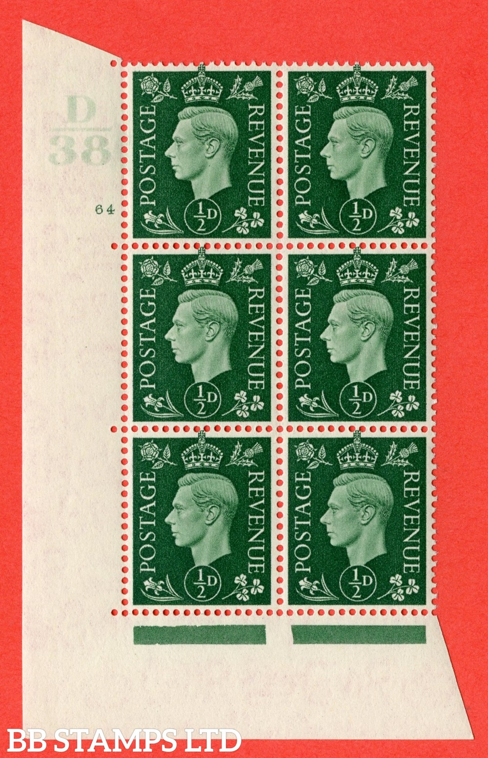 "SG. 462. Q1. ½d Green. A superb UNMOUNTED MINT "" Control D38 cylinder 64 no dot "" block of 6 with perf type 5 E/I with marginal rule."