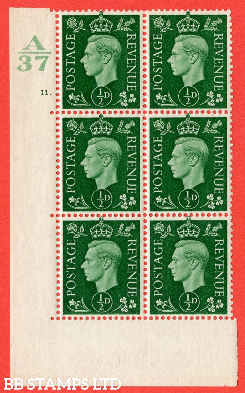 "SG. 462. Q1. ½d Green. A superb UNMOUNTED MINT "" Control A37 cylinder 11 dot "" block of 6 with perf type 5 E/I without marginal rule."