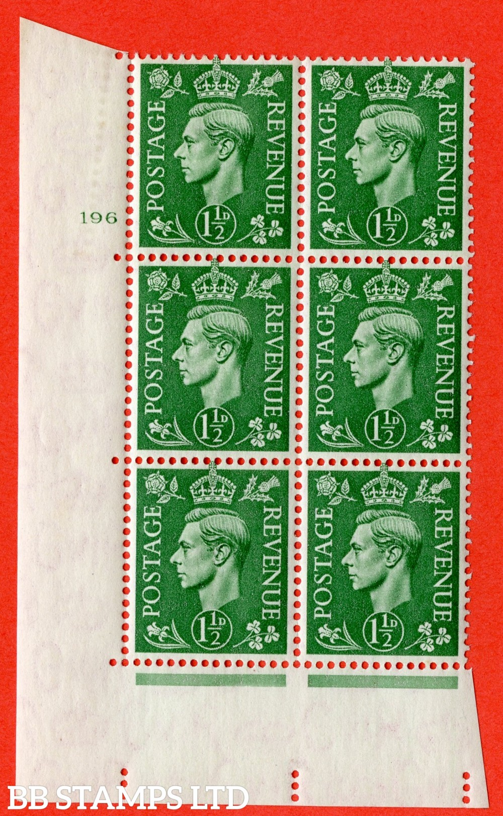 "SG. 505. Q9. 1½d Pale Green. A superb UNMOUNTED MINT "" No Control cylinder 196 no dot "" control block of 6 with perf type 5 E/I"