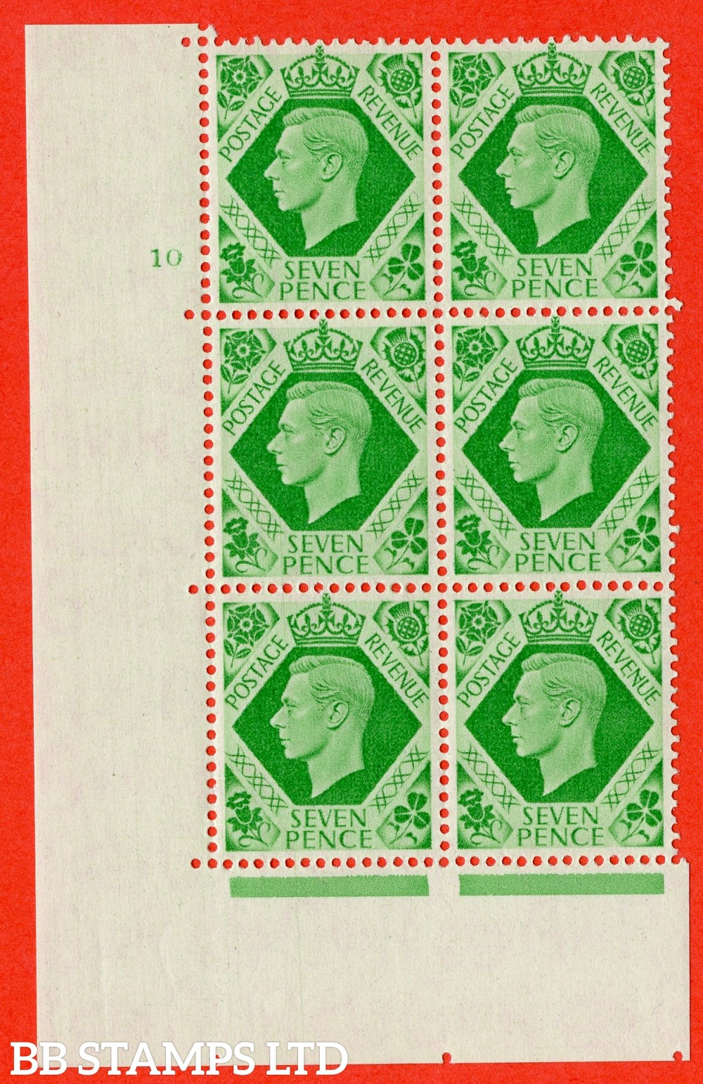 """SG. 471. Q23. 7d Emerald-Green. A superb UNMOUNTED MINT """" No Control. Cylinder 10 no dot """" control block of 6 with perf type 5 E/I with listed variety """" Damaged N in Revenue """" R20/2."""