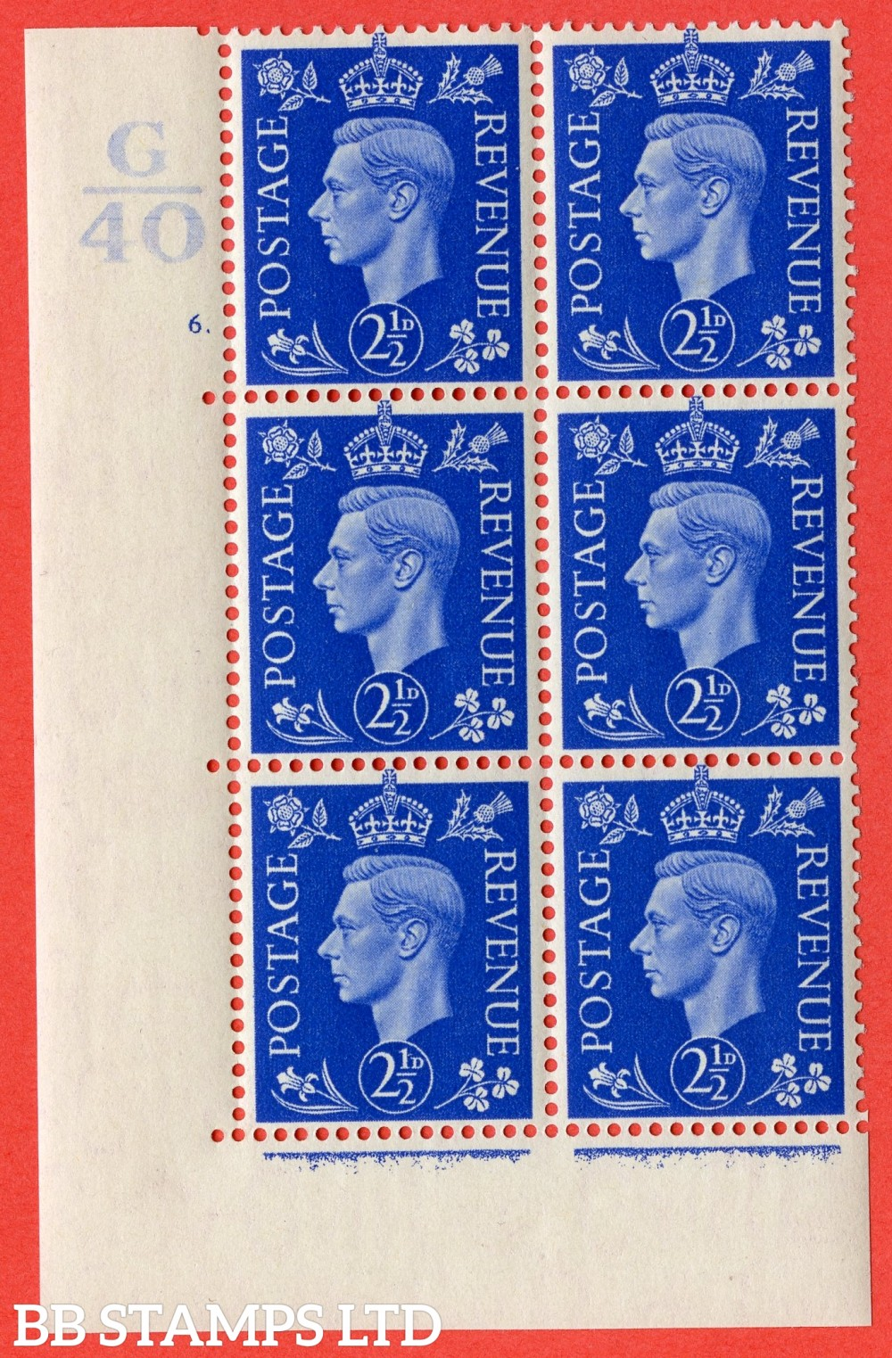 "SG. 466. Q13. 2½d Ultramarine.  A Superb UNMOUNTED MINT "" Control G40 cylinder 6 (i) dot "" control block of 6 with perf type 5 E/I."