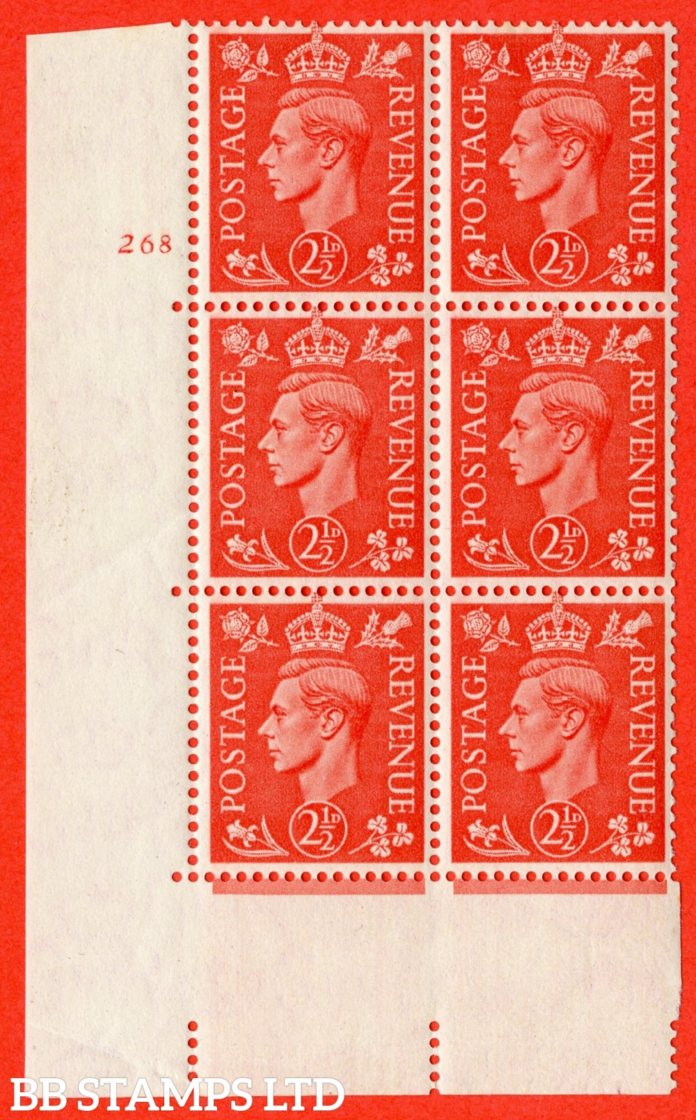 "SG. 507. Q15. 2½d Pale Scarlet. A fine lightly mounted mint "" No Control cylinder 268 no dot "" control block of 6 with perf type 5 E/I. Crease."