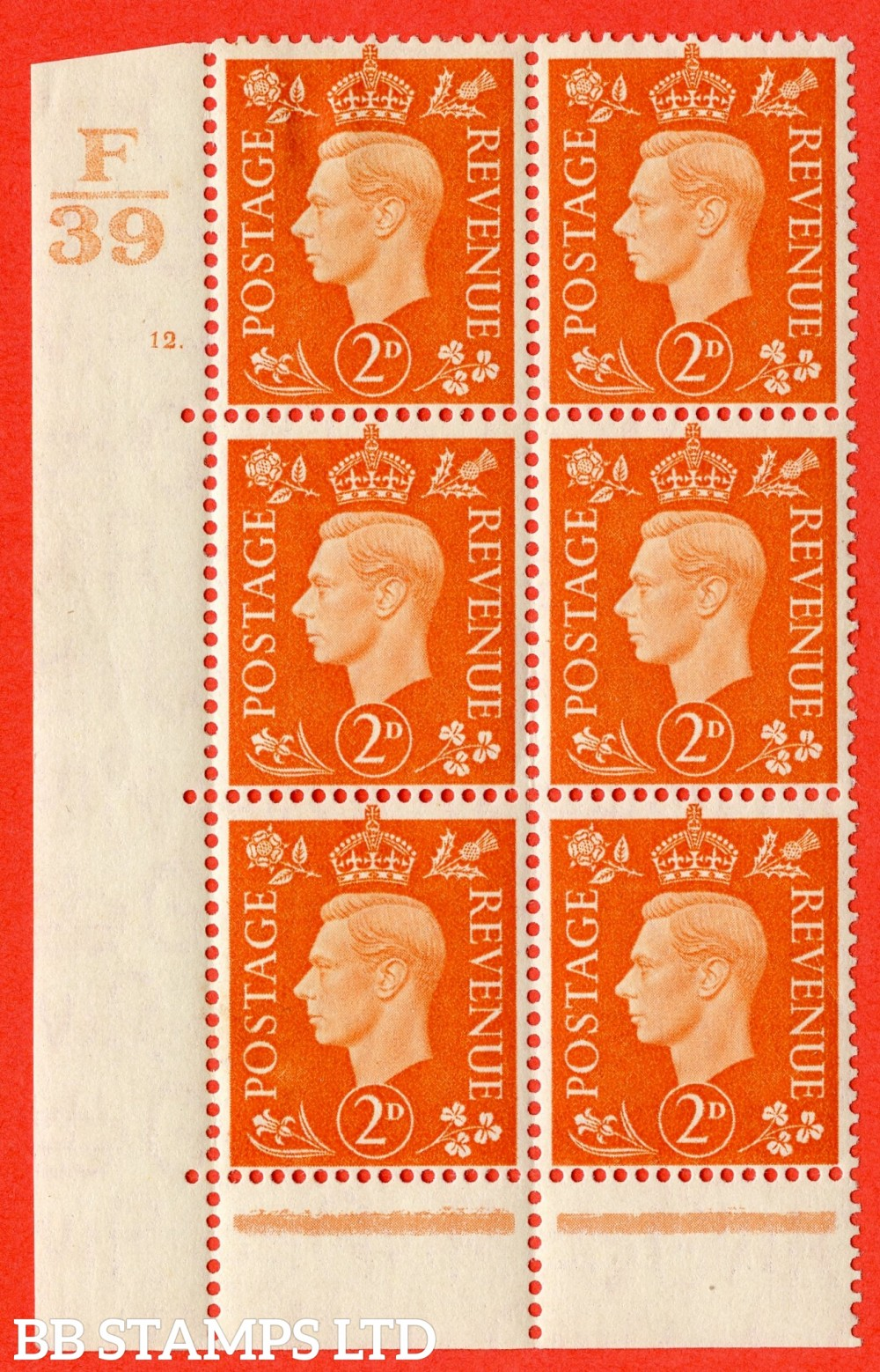"SG. 465. Q10. 2d Orange. A fine lightly mounted mint "" Control F39 cylinder 12 dot "" control block of 6 with perf type 6B E/P."