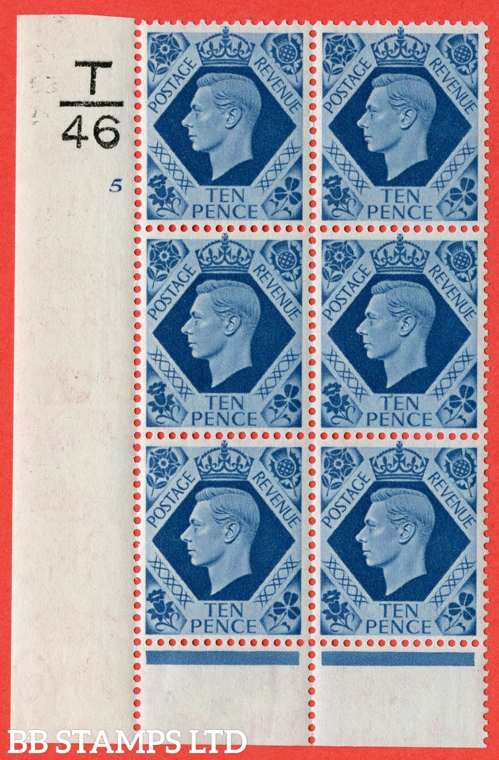"SG. 474. Q26. 10d Turquoise-Blue. A fine lightly mounted mint "" Control T46 cylinder 5 no dot "" control block of 6 with perf type 6 I/P."