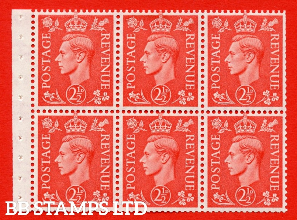 """SG. 507 c. QB34. 2½d pale scarlet. A fine MOUNTED MINT Booklet pane of 6. Perf type """" I """". Trimmed Perfs."""