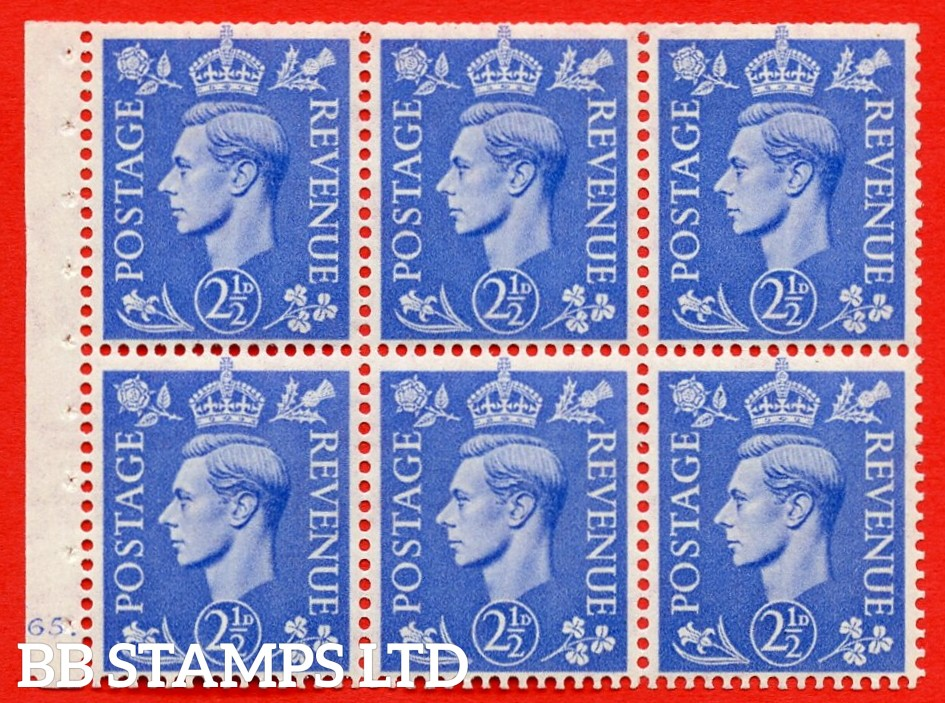 """SG. 489f. QB33. 2½d blue. A fine UNMOUNTED MINT complete Cylinder pane of 6 J65 dot. Perf type """"B6(IE)"""". Trimmed Perfs."""