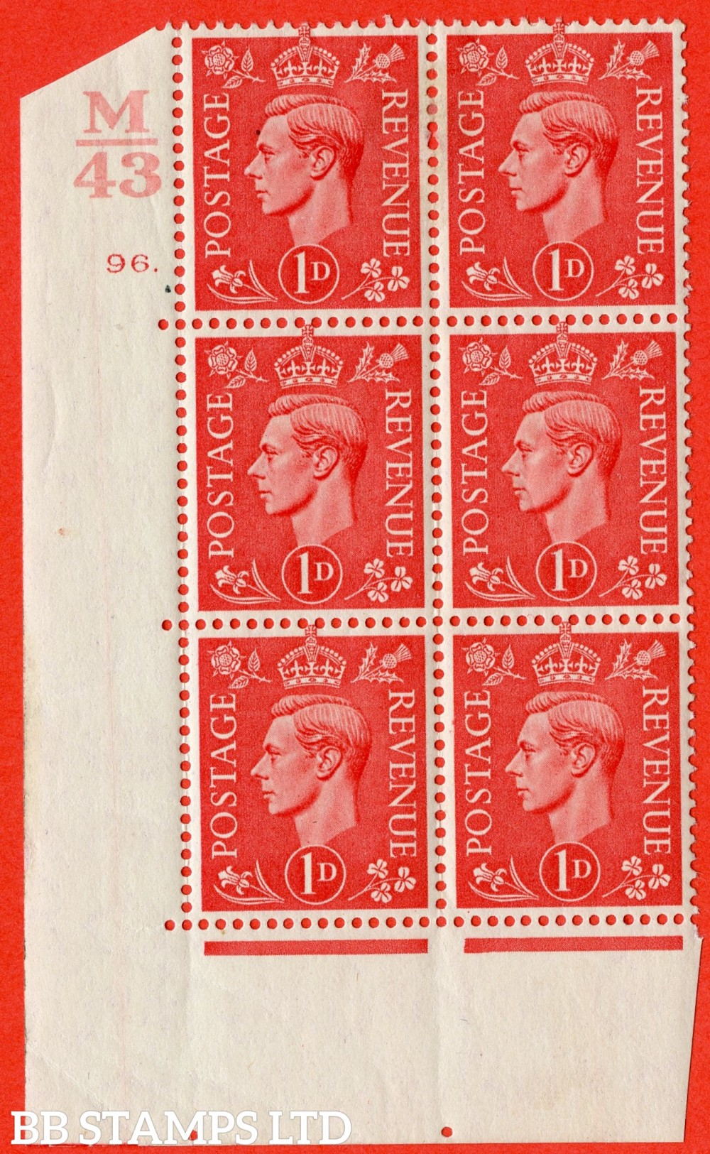 "SG. 486. Q5. 1d Pale scarlet. A fine lightly mounted mint "" Control M43  cylinder 96 dot "" control block of 6 with perf type 5 E/I."