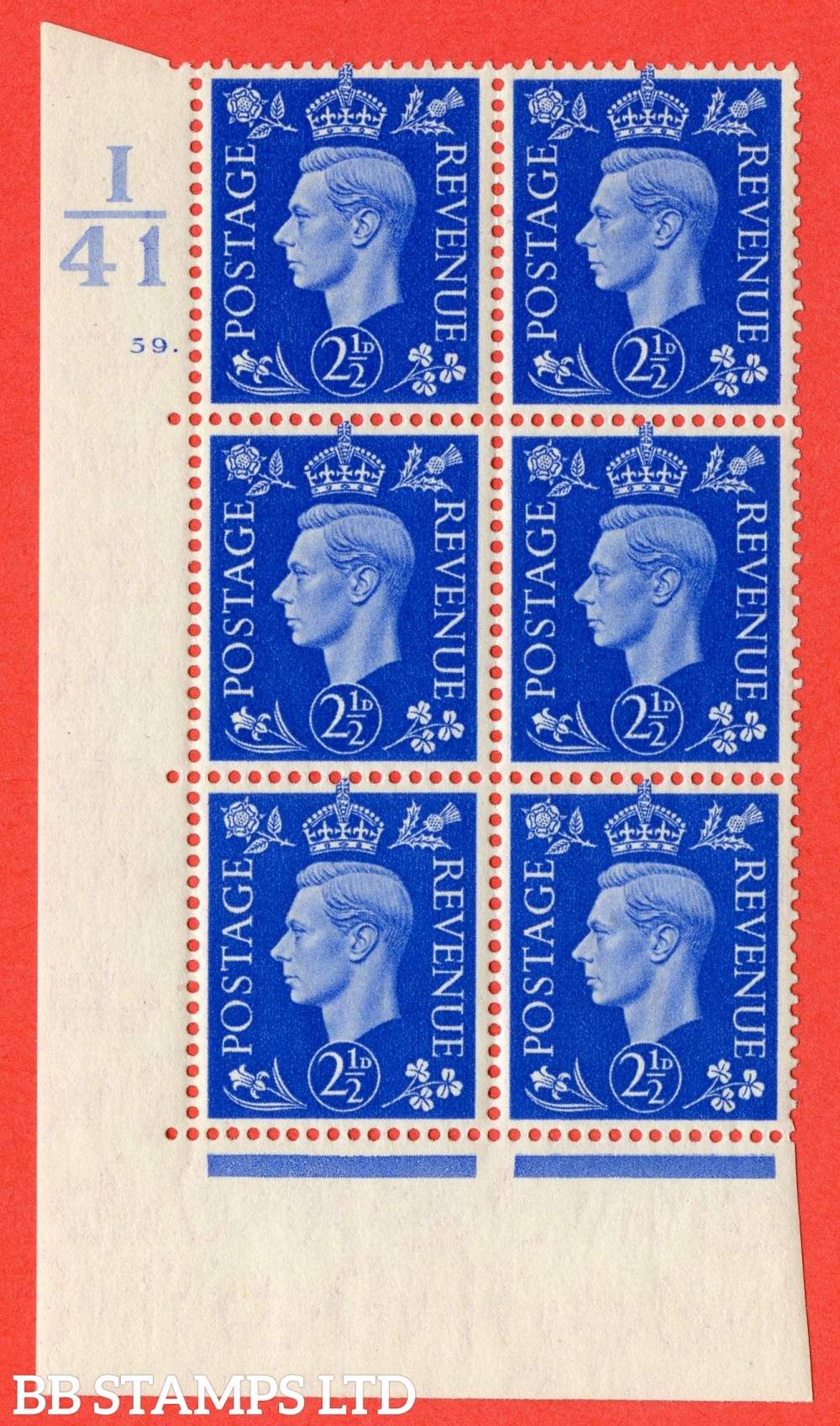 "SG. 466. Q13. 2½d Ultramarine. A superb UNMOUNTED MINT "" Control I41 cylinder 59 dot "" control block of 6 with perf type 5 E/I."
