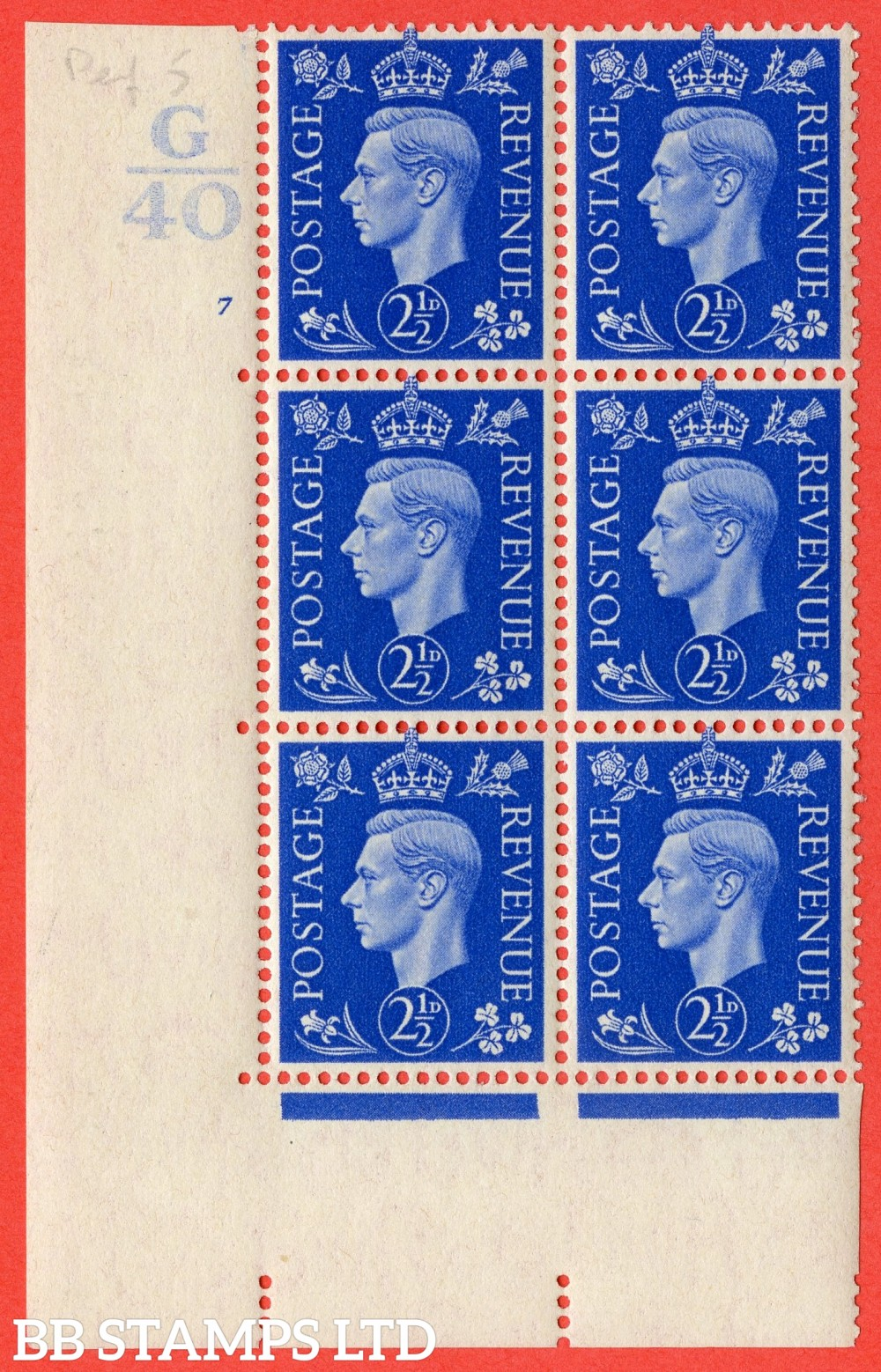 "SG. 466. Q13. 2½d Ultramarine. A superb UNMOUNTED MINT "" Control G40 cylinder 7 no dot "" control block of 6 with perf type 5 E/I."