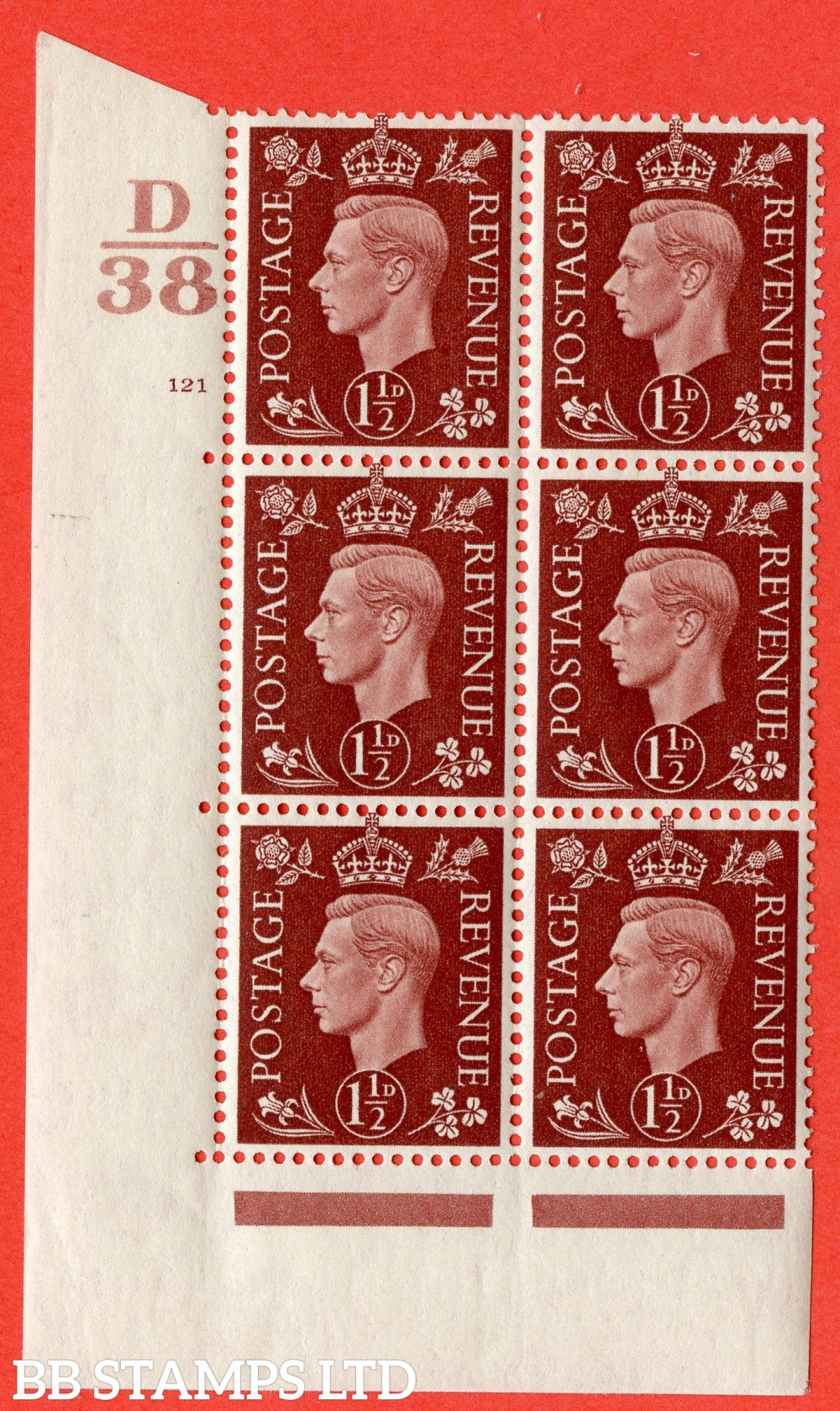 "SG. 464. Q7. 1½d Red-Brown. A superb UNMOUNTED MINT "" Control D38 cylinder 121 no dot "" block of 6 with perf type 5 E/I."