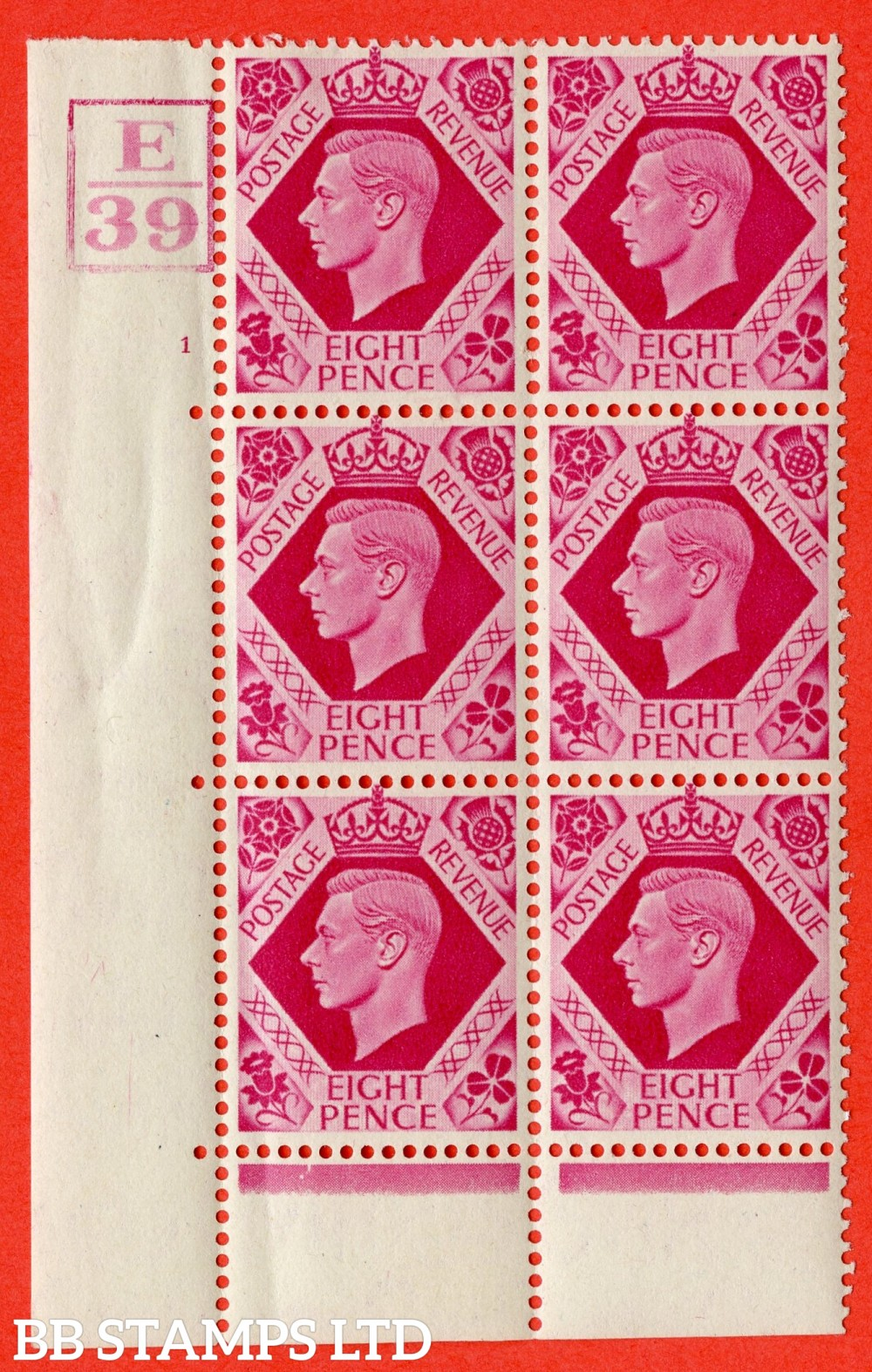 "SG. 472. Q24. 8d Carmine. A fine lightly mounted mint "" Control E39. Box. Cylinder 1 no dot "" control block of 6 with perf type 6B E/P."