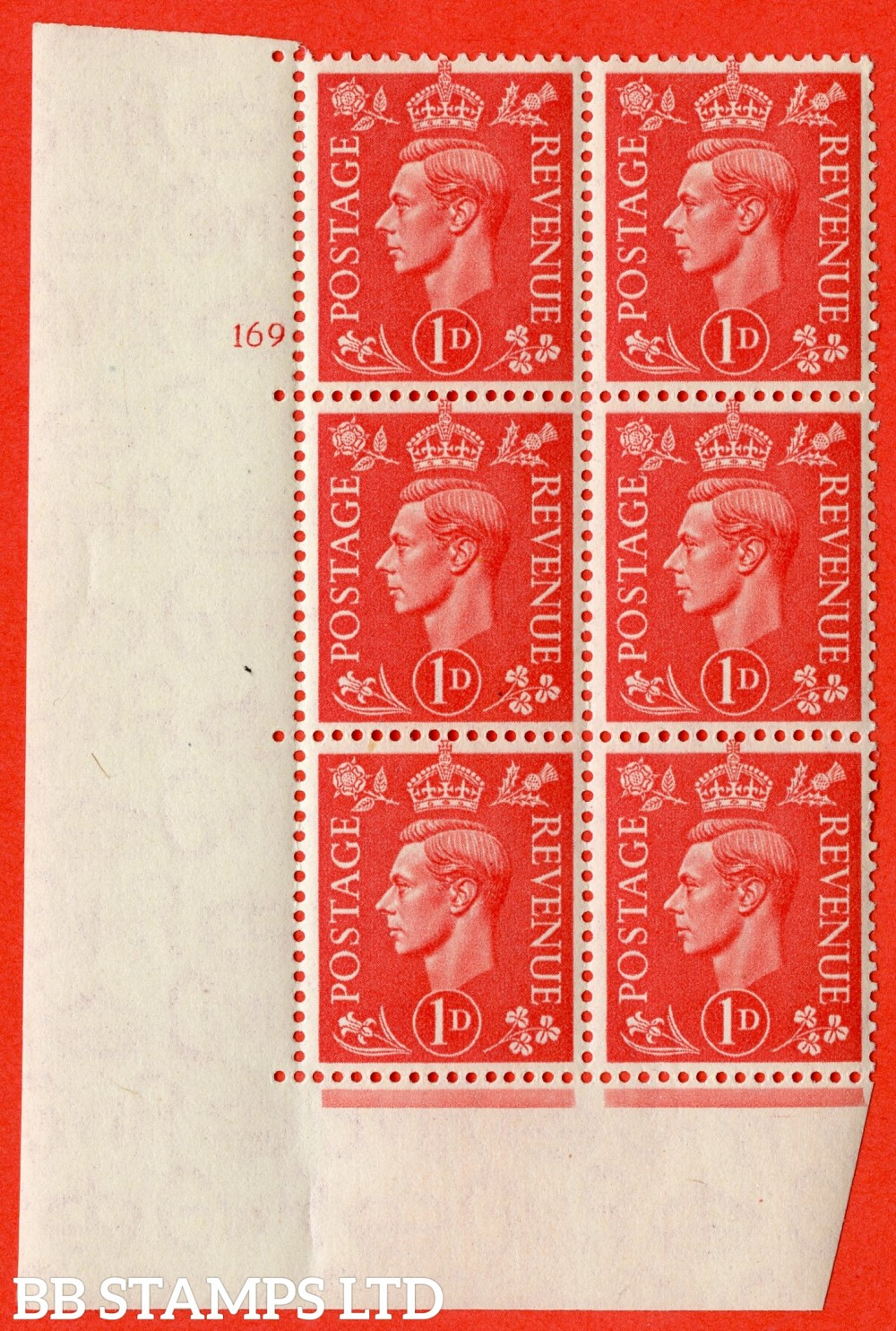 "SG. 486. Q5. 1d Pale scarlet. A superb UNMOUNTED MINT "" No Control   cylinder 169 no dot "" control block of 6 with perf type 5 E/I."
