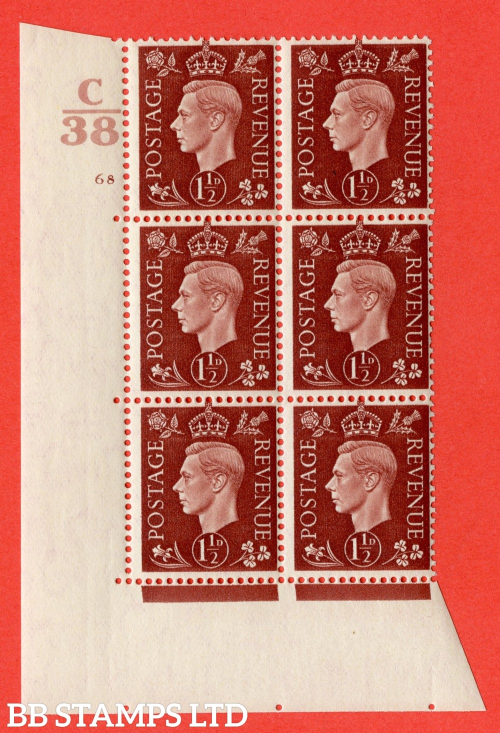 """SG. 464. Q7. 1½d Red-Brown. A fine lightly mounted mint """" Control C38 cylinder 68 no dot """" block of 6 with perf type 5 E/I."""