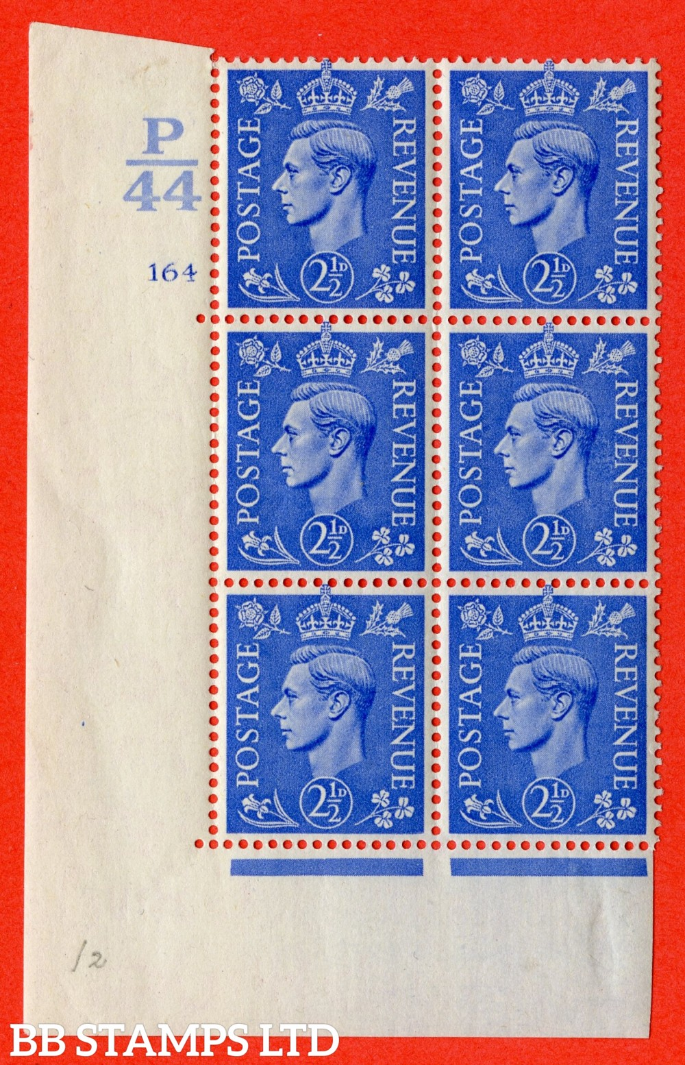 "SG. 489. Q14. 2½d Light ultramarine. A fine mounted mint "" Control  P44 cylinder 164 no dot "" control block of 6 with perf type 5 E/I."