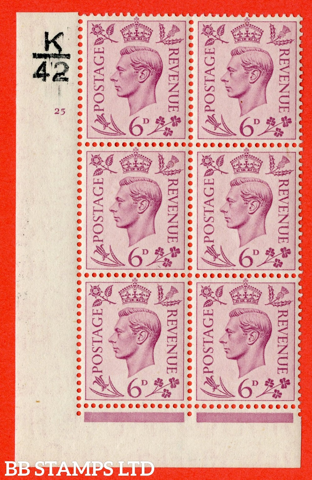 """SG. 470. Q22. 6d Purple. A superb UNMOUNTED MINT """" Control K42 cylinder 25 no dot """" control block of 6 with perf type 2 E/I."""