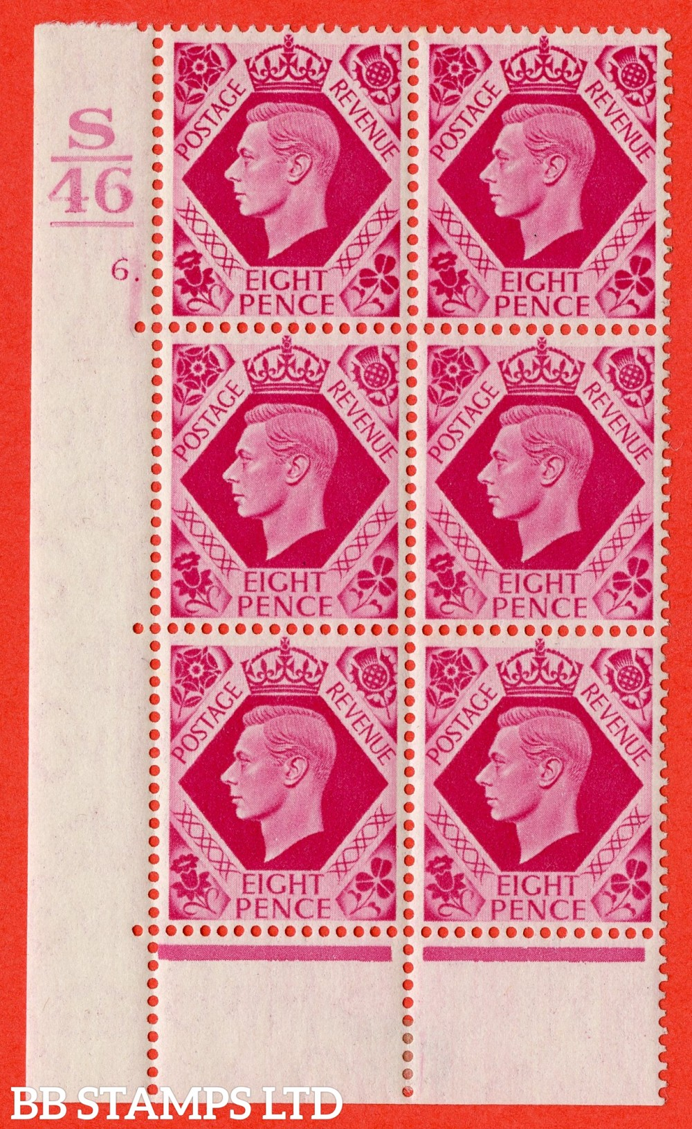 "SG. 472. Q24. 8d Carmine. A fine lightly mounted mint "" Control S46. 1 Bar. Cylinder 6 dot "" control block of 6 with perf type 6B E/P"