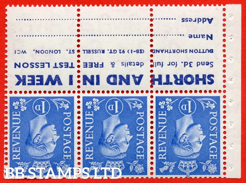 """SG. 504 dw. QB20a. 1d ultramarine. A fine MOUNTED MINT complete booklet pane with """" SHORTHAND IN 1 WEEK """". Perf type """" I """". Good Perfs."""