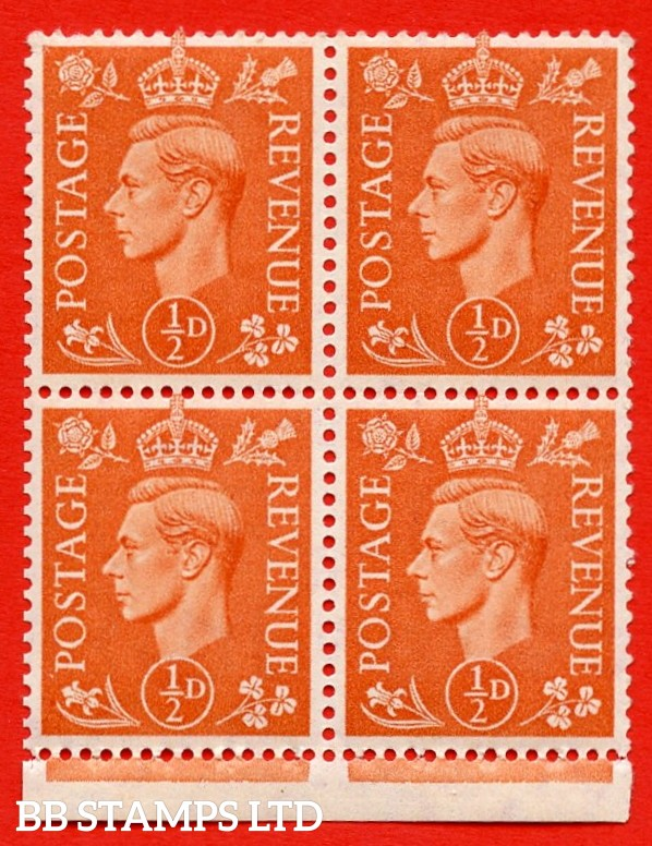 """SG. 503e. QB8a. ½d orange. A fine UNMOUNTED MINT complete booklet pane of 4. Perf type """" I """". Good Perfs."""