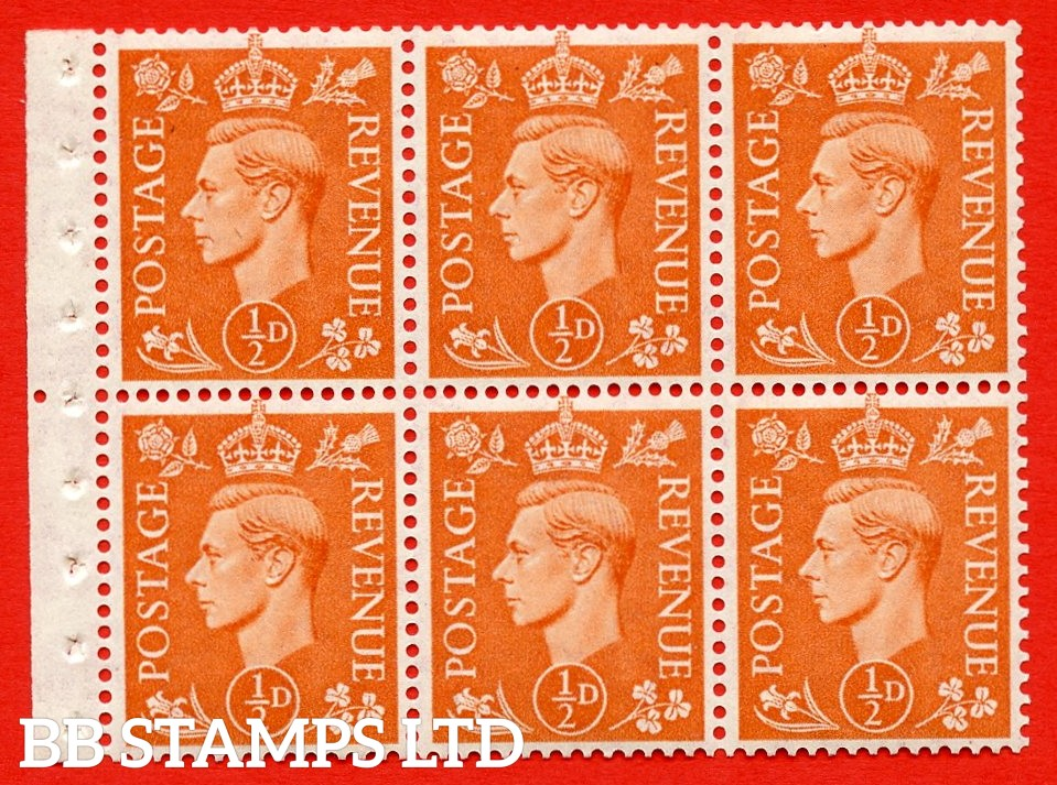 "SG. 503d. QB7. ½d orange. A fine UNMOUNTED MINT complete booklet pane of 6. Perf type "" Iem "". Good Perfs."