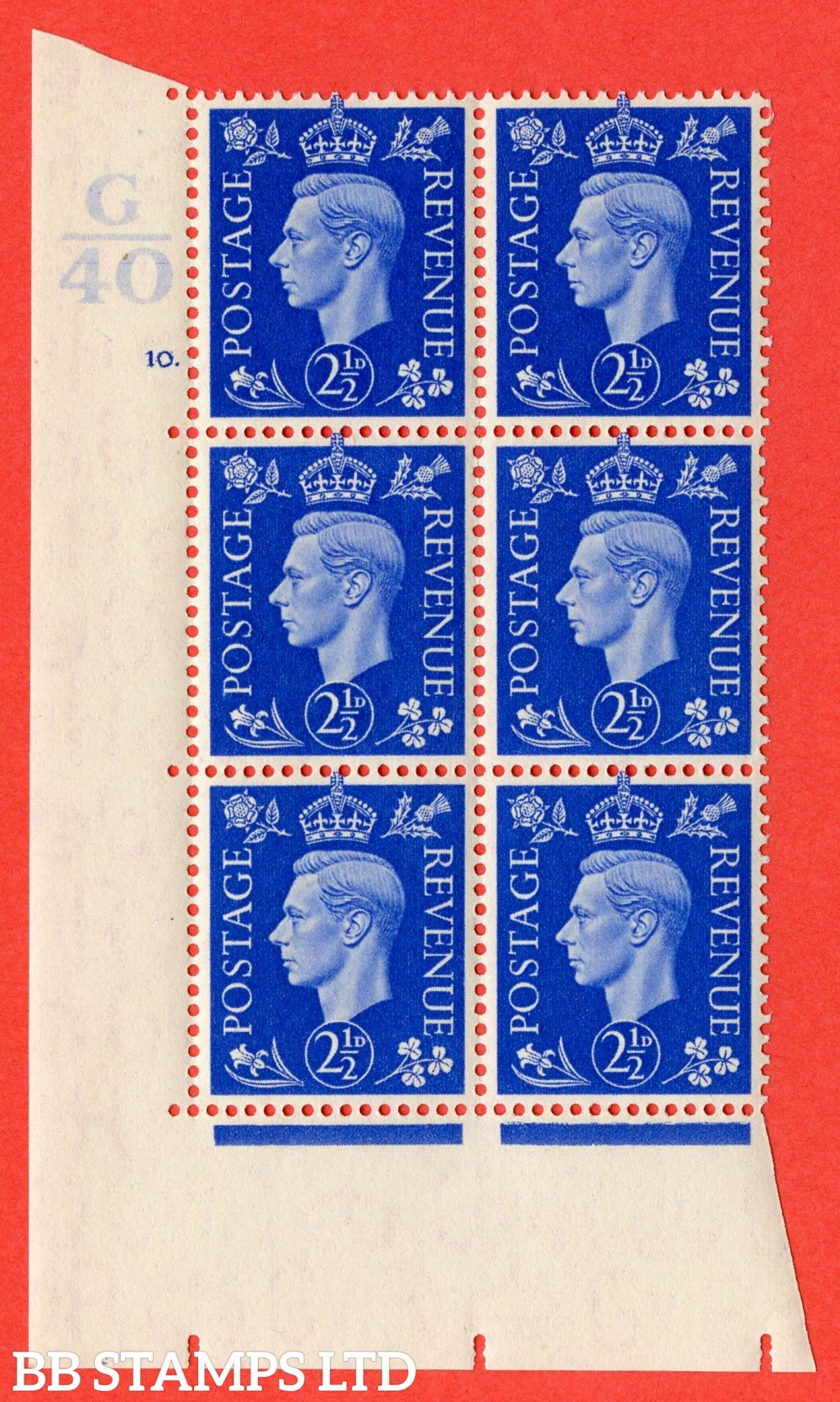 """SG. 466. d. Q13. 2½d Ultramarine.  A superb UNMOUNTED MINT """" Control G40 cylinder 10 no dot """" control block of 6 with perf type 5 E/I."""