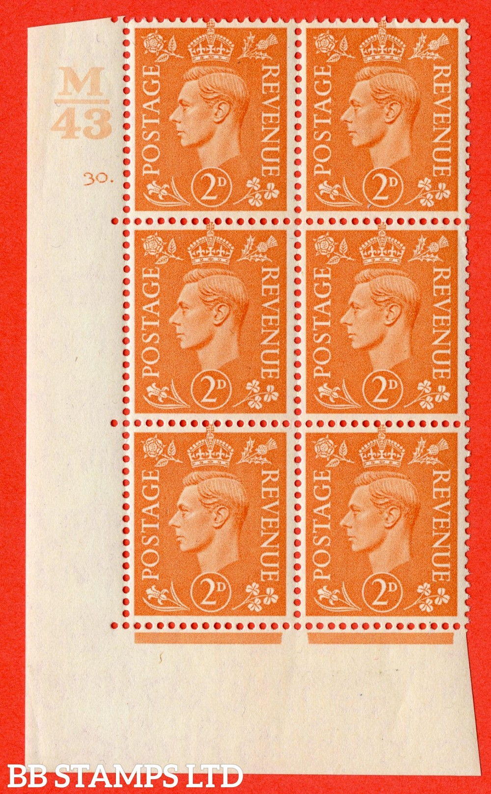 "SG. 488. Q11. 2d Pale Orange. A fine lightly mounted mint "" Control M43 cylinder 30 dot "" control block of 6 with perf type 5 E/I."