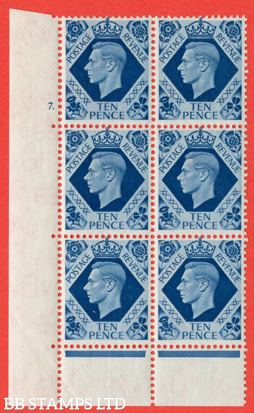 "SG. 474. Q26. 10d Turquoise-Blue. A fine lightly mounted mint "" No Control cylinder 7 dot "" control block of 6 with perf type 6B E/P."